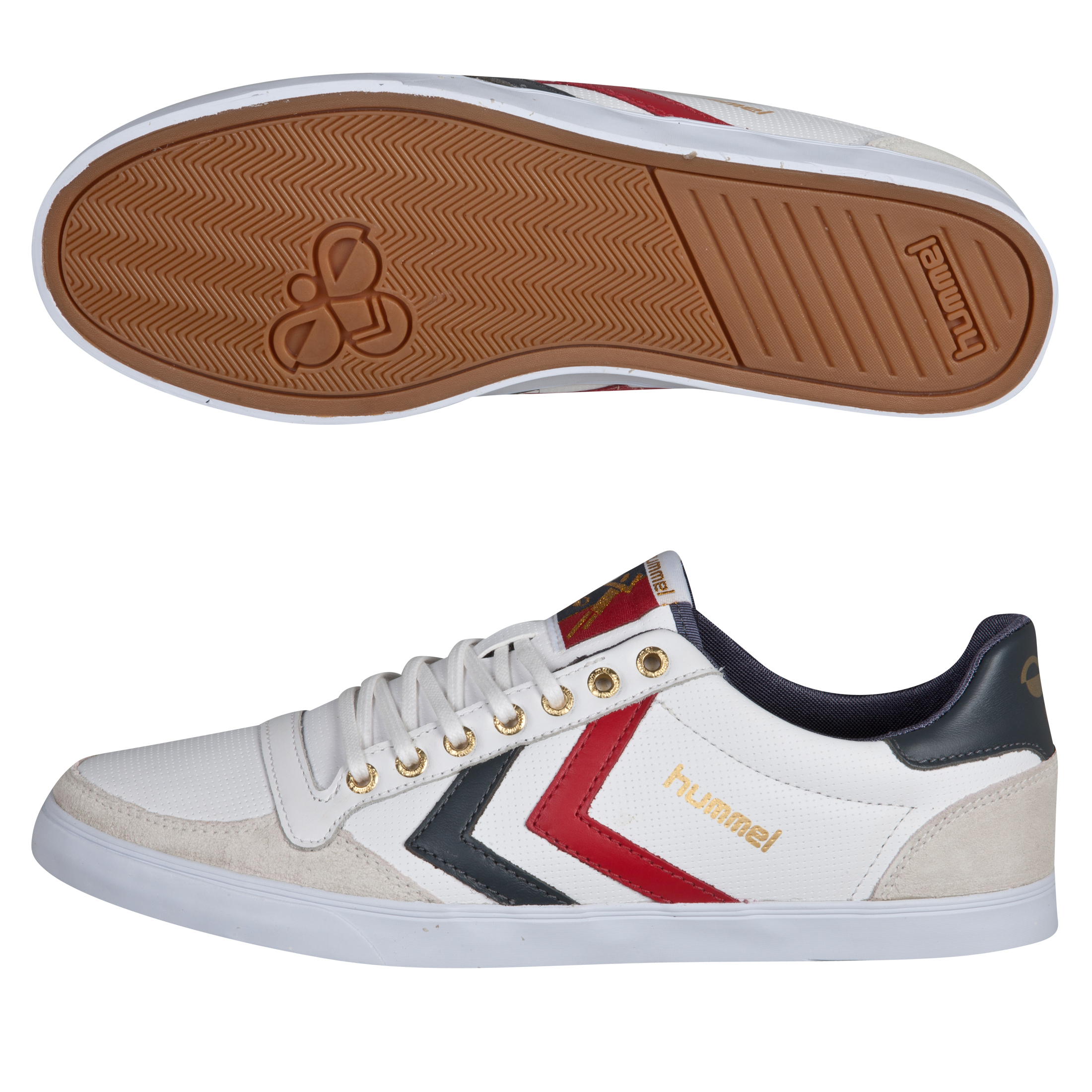 Hummel Slimmer Stadil Low Perf Leather Trainers - White/Castlerock/Ribbon Red