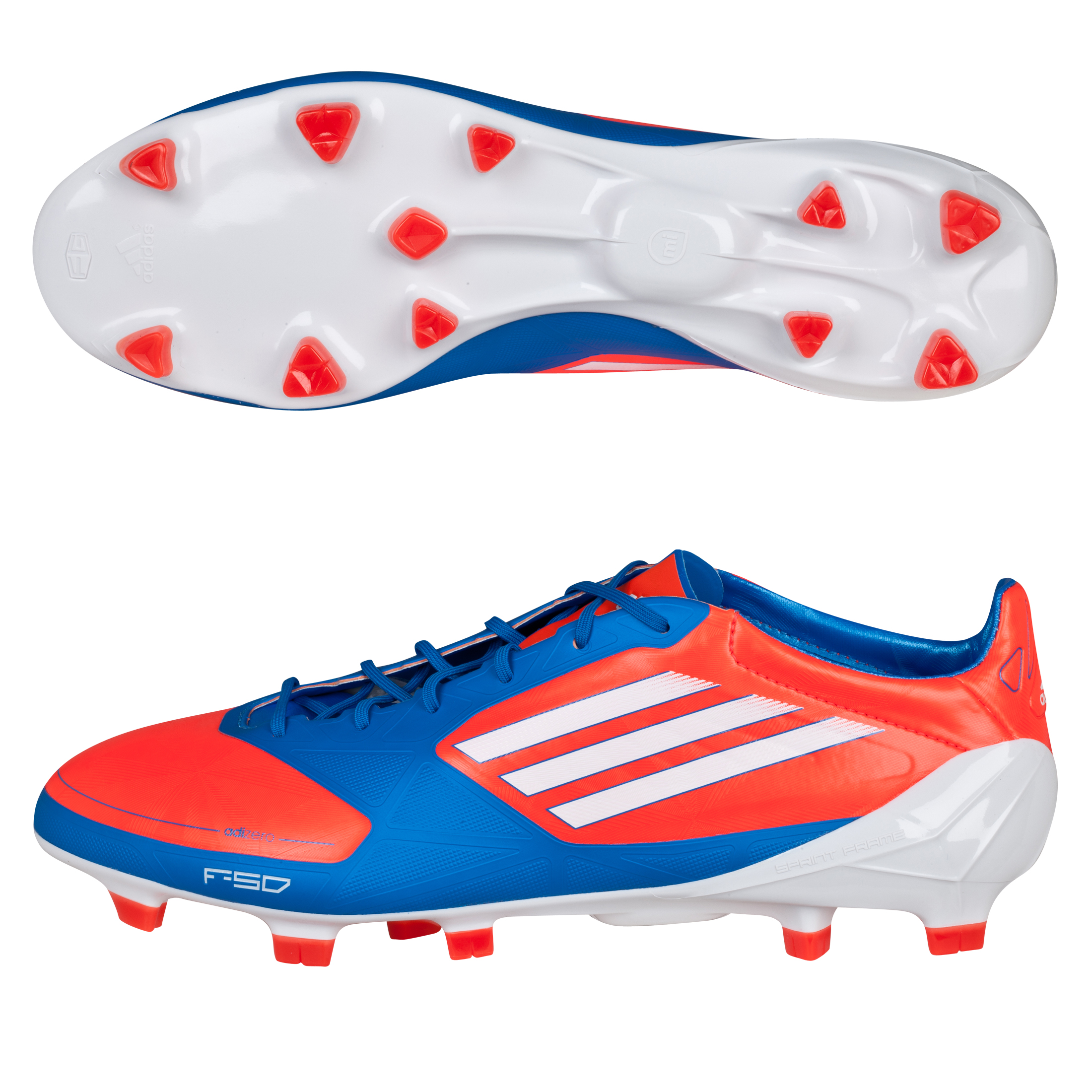 Adidas F50 Adizero TRX Firm Ground Synthetic Football Boots - Infrared/White/Bright Blue