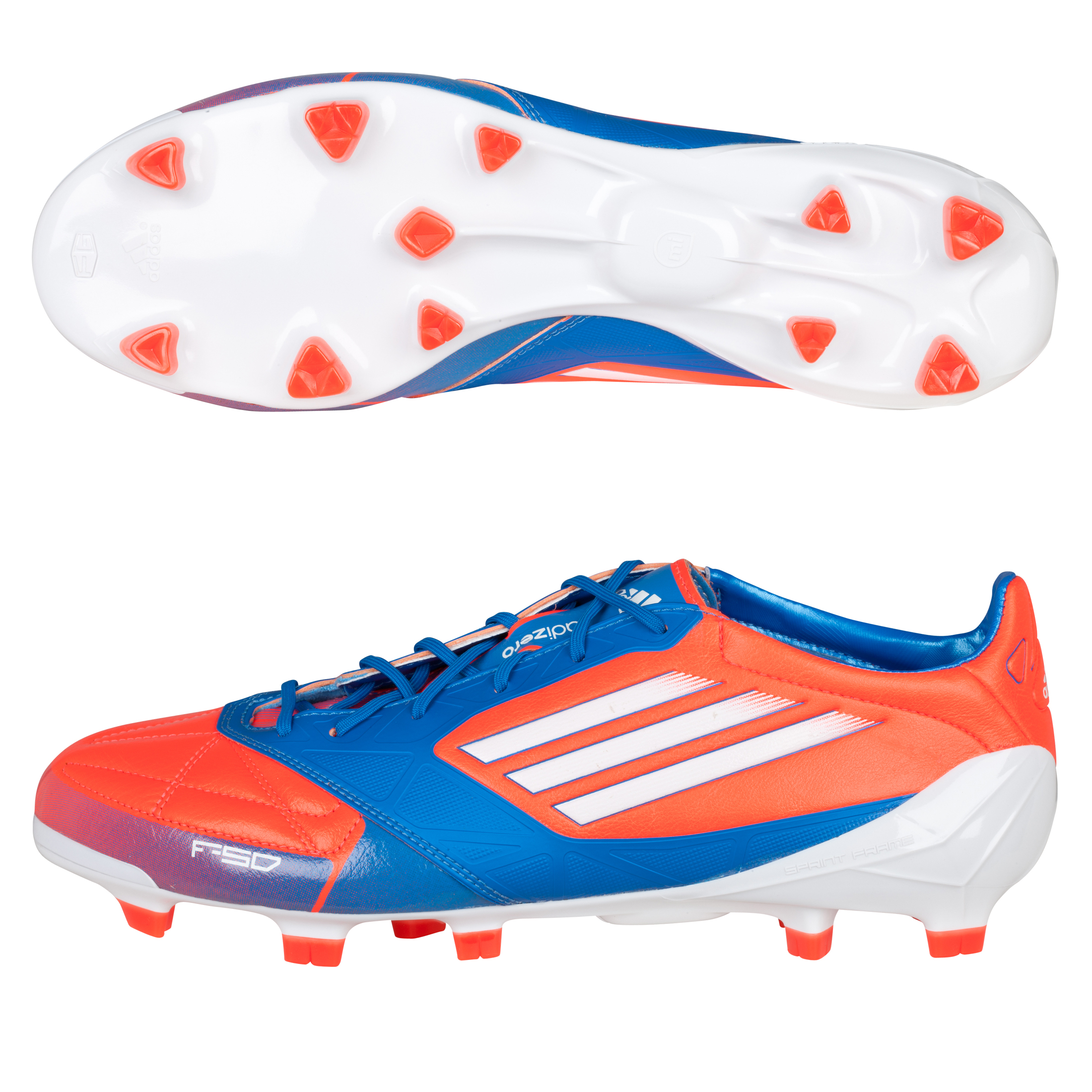 Adidas F50 Adizero TRX Firm Ground Leather Football Boots - Infrared/White/Bright Blue