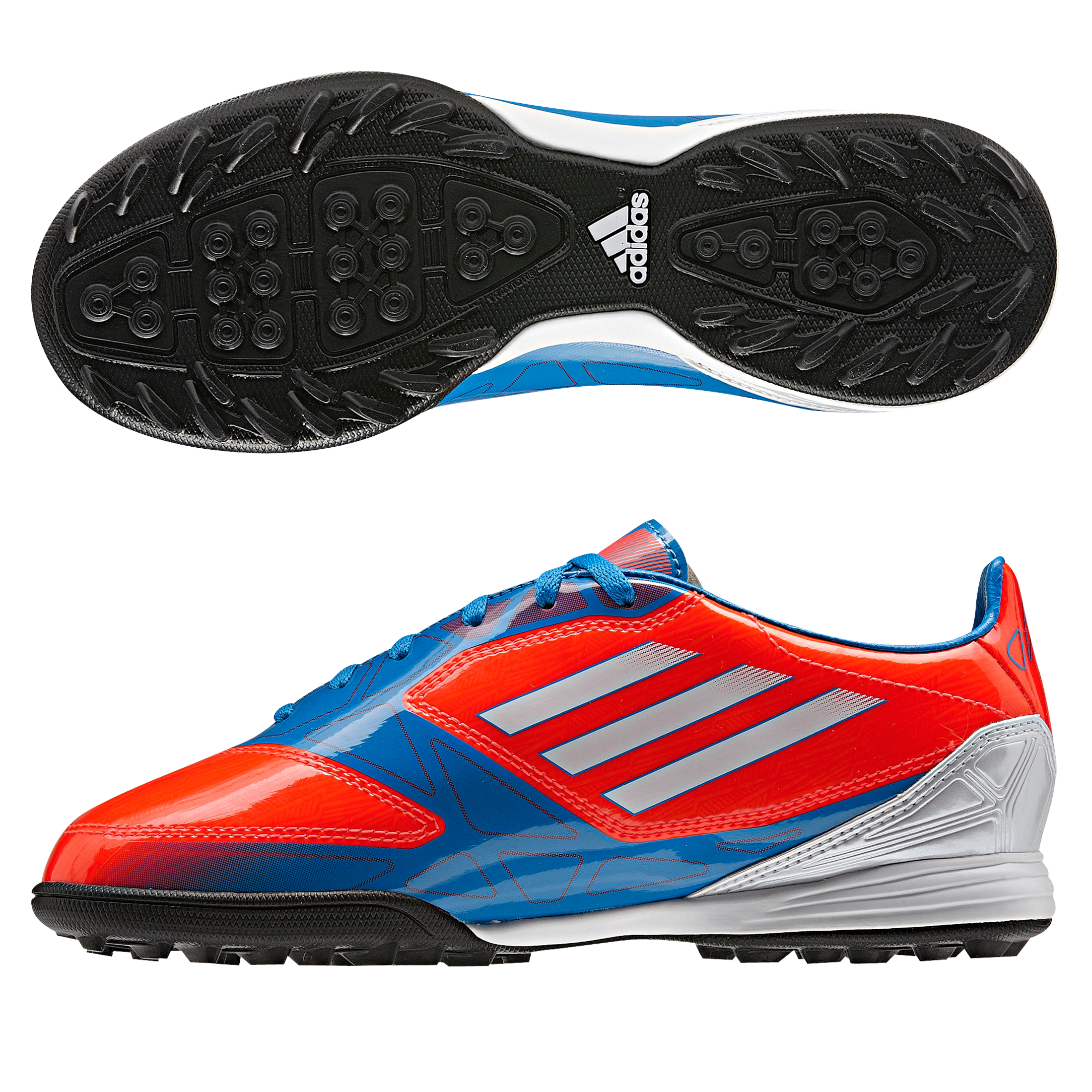 Adidas F10 TRX Astro Turf Trainers - Infrared/Running White/Bright Blue - Kids