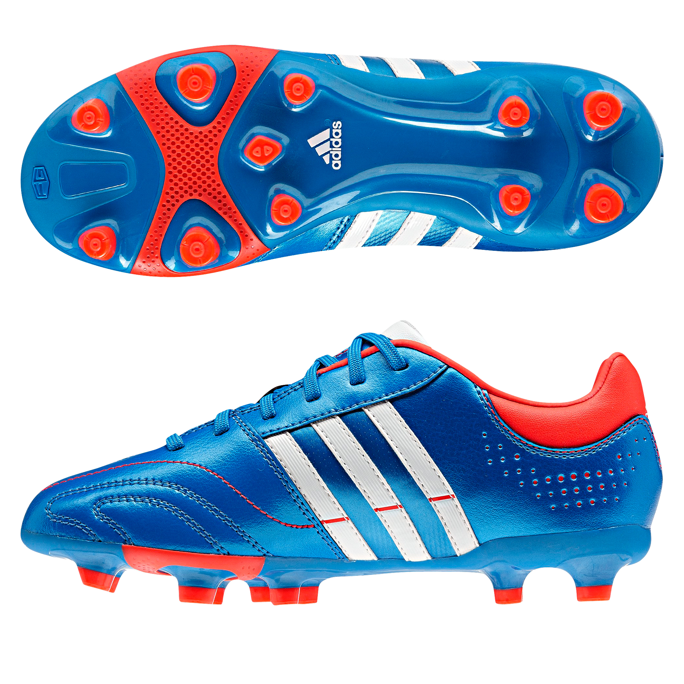 Adidas 11Nova TRX Firm Ground Football Boots - Bright Blue/Running White/Infrared - Kids