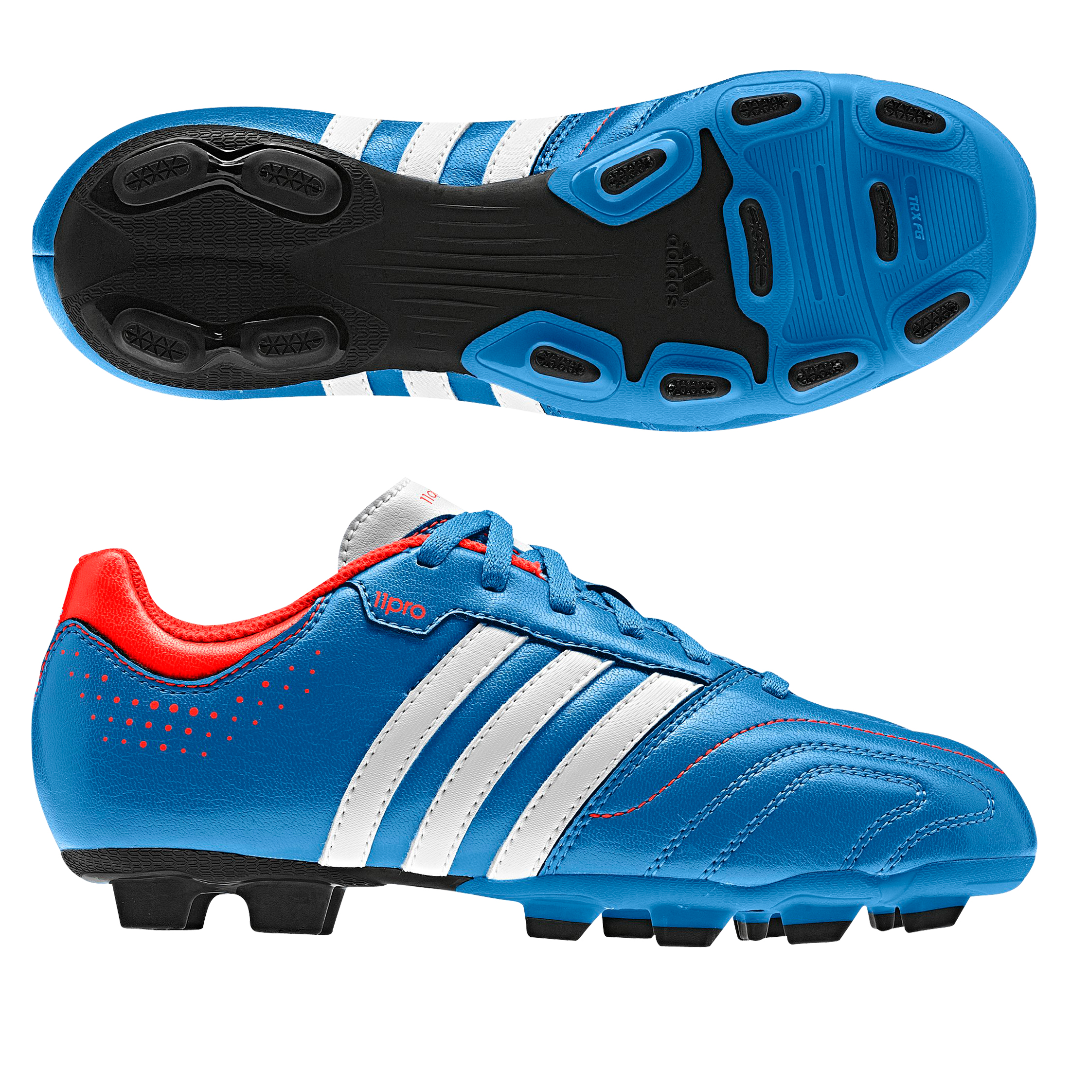 Adidas 11Questra TRX Firm Ground Football Boots - Bright Blue/Running White/Infrared - Kids