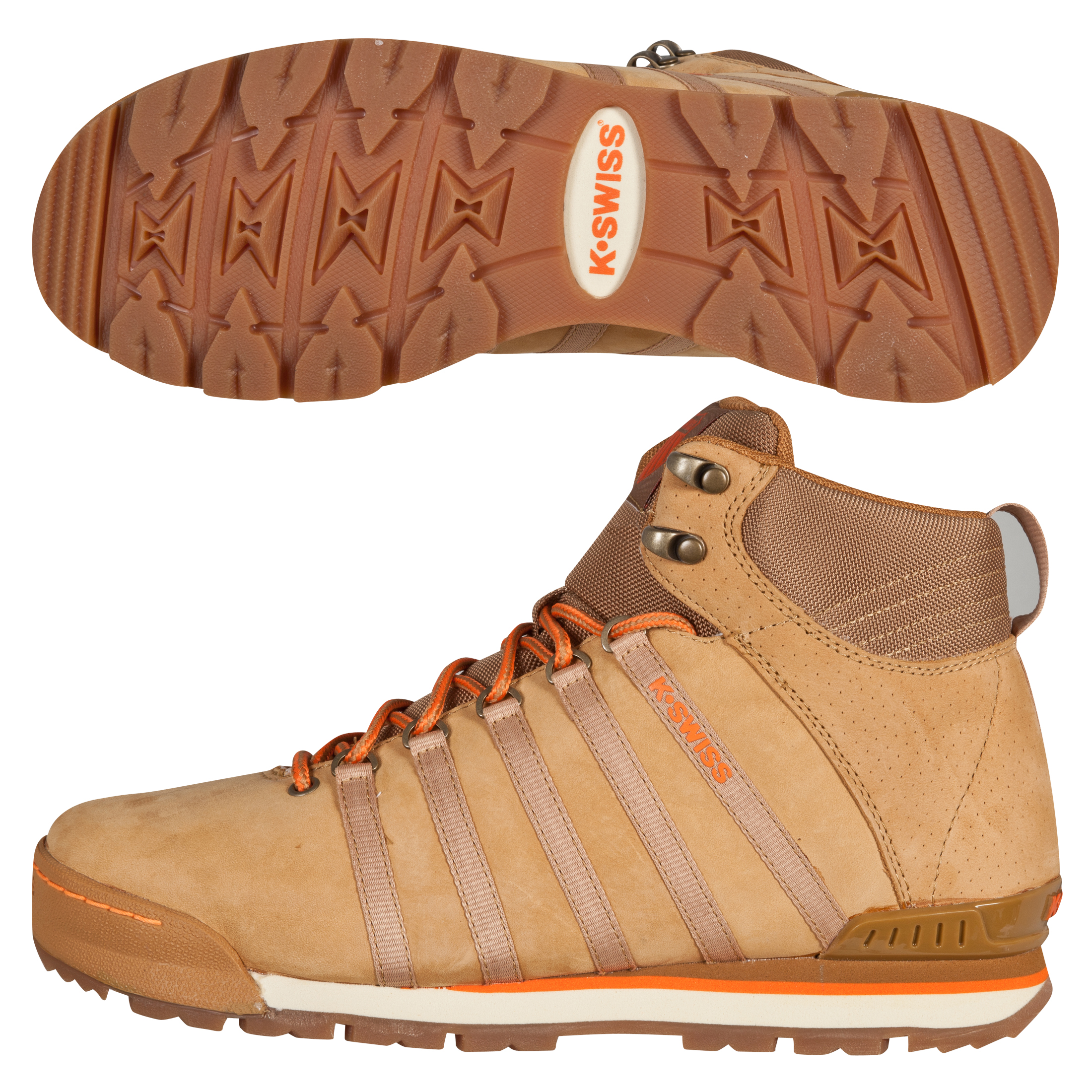 K Swiss K-Swiss Classic Hiker High Boots - Bone Brown/Bisque/Vibrant Orange/Dark Gum