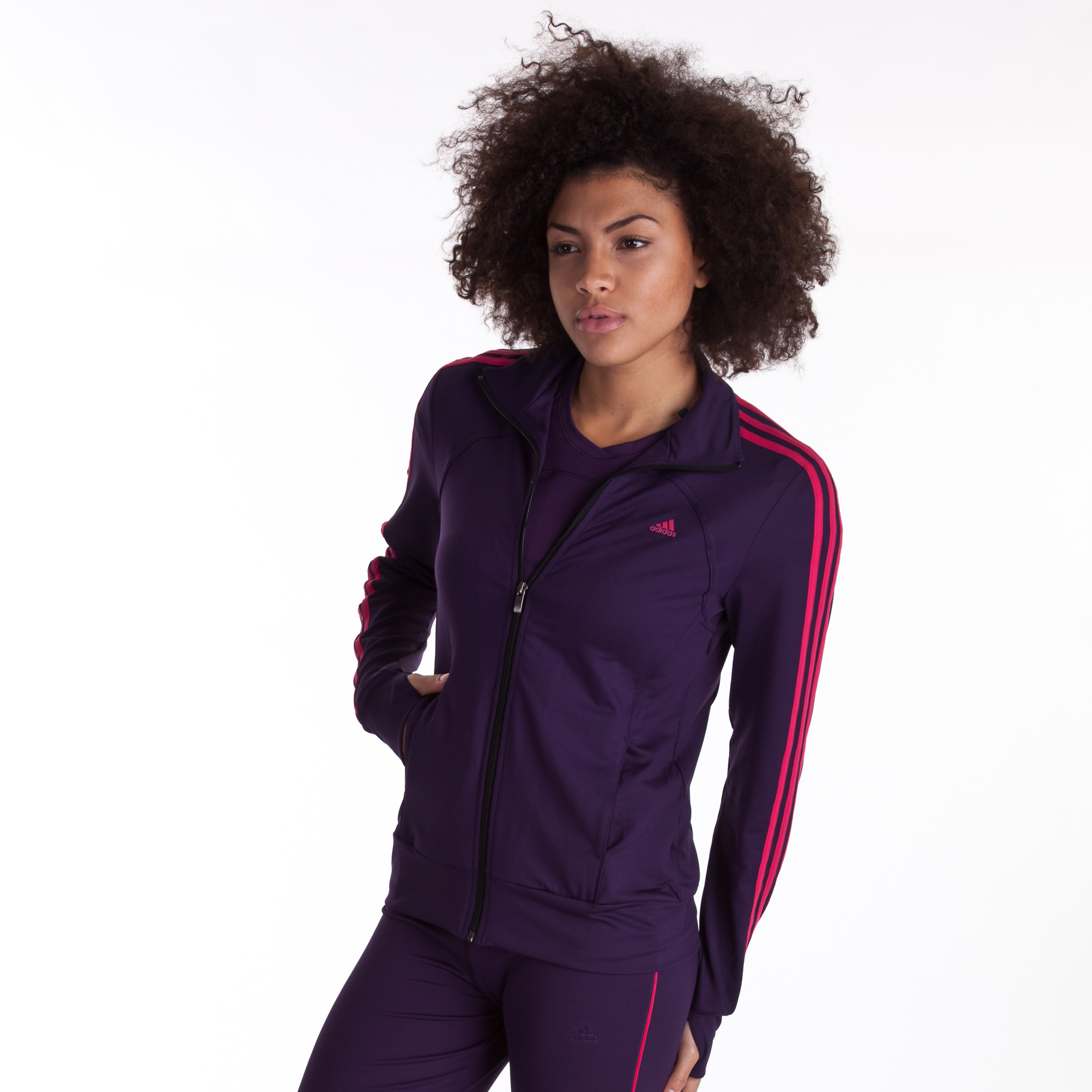 Adidas Multifunctional Essentials 3 Stripe Track Top - Dark Violet/Pink - Womens