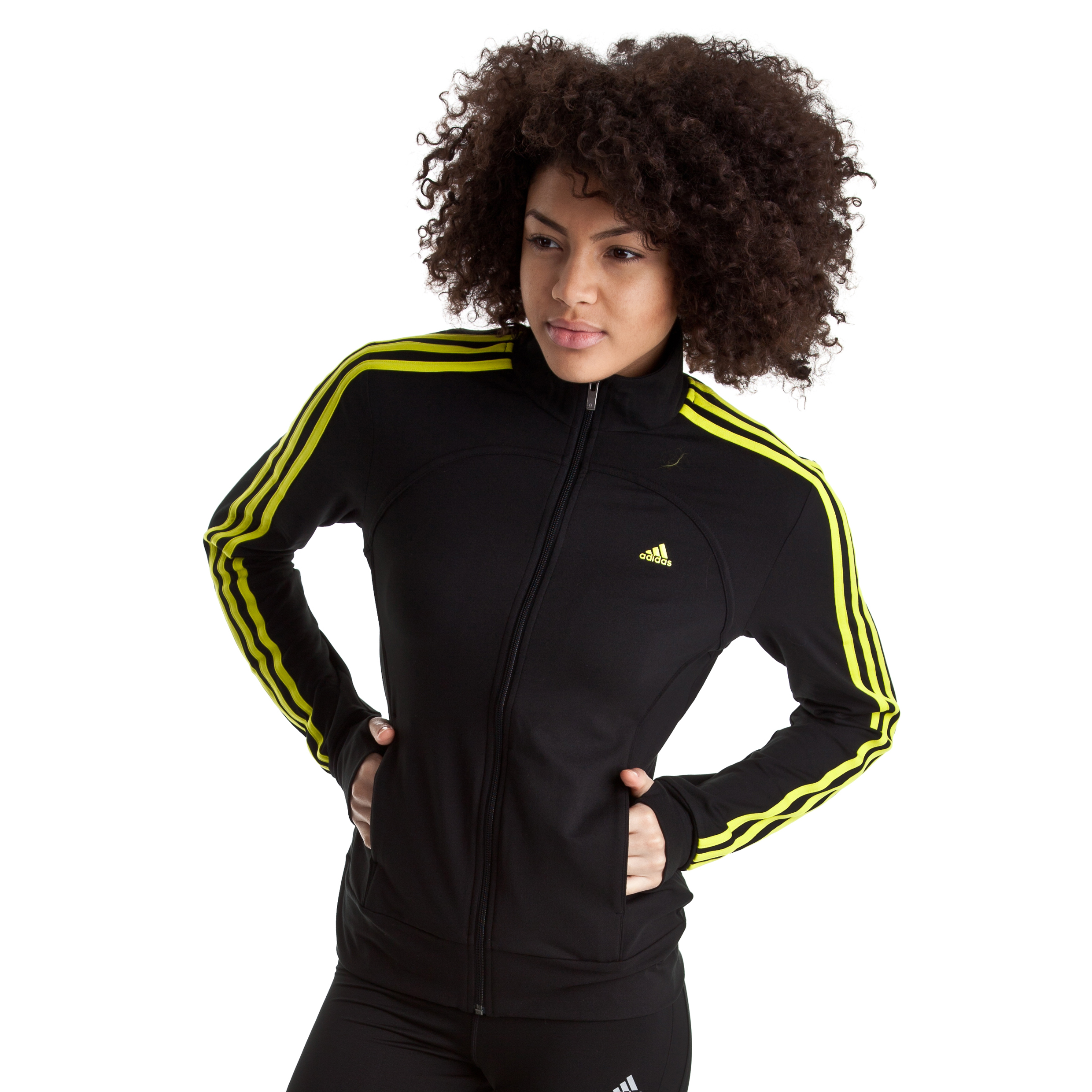 Adidas Multifunctional Essentials 3 Stripe Track Top - Black/Lab Lime - Womens