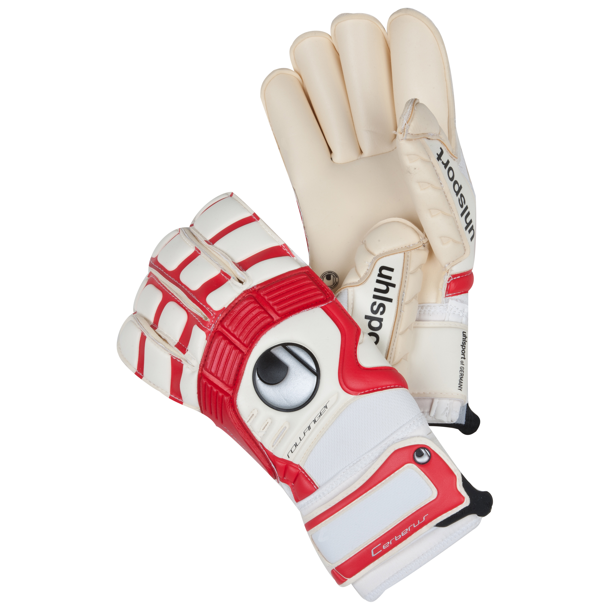 Uhlsport Cerberus Absolutgrip Rollfinger Goalkeeper Gloves - White/Red/Black
