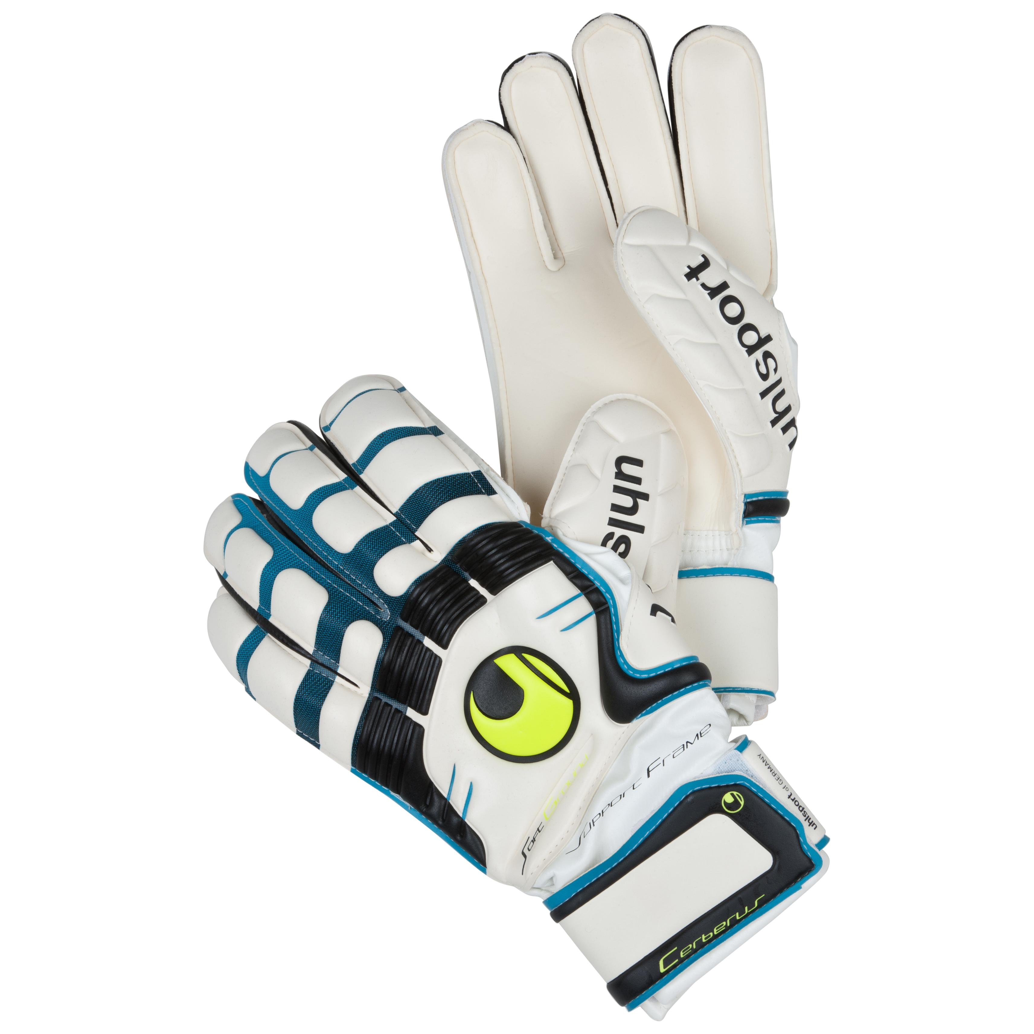 Uhlsport Cerberus Soft Supportframe Goalkeeper Gloves - White/Cyan/Black