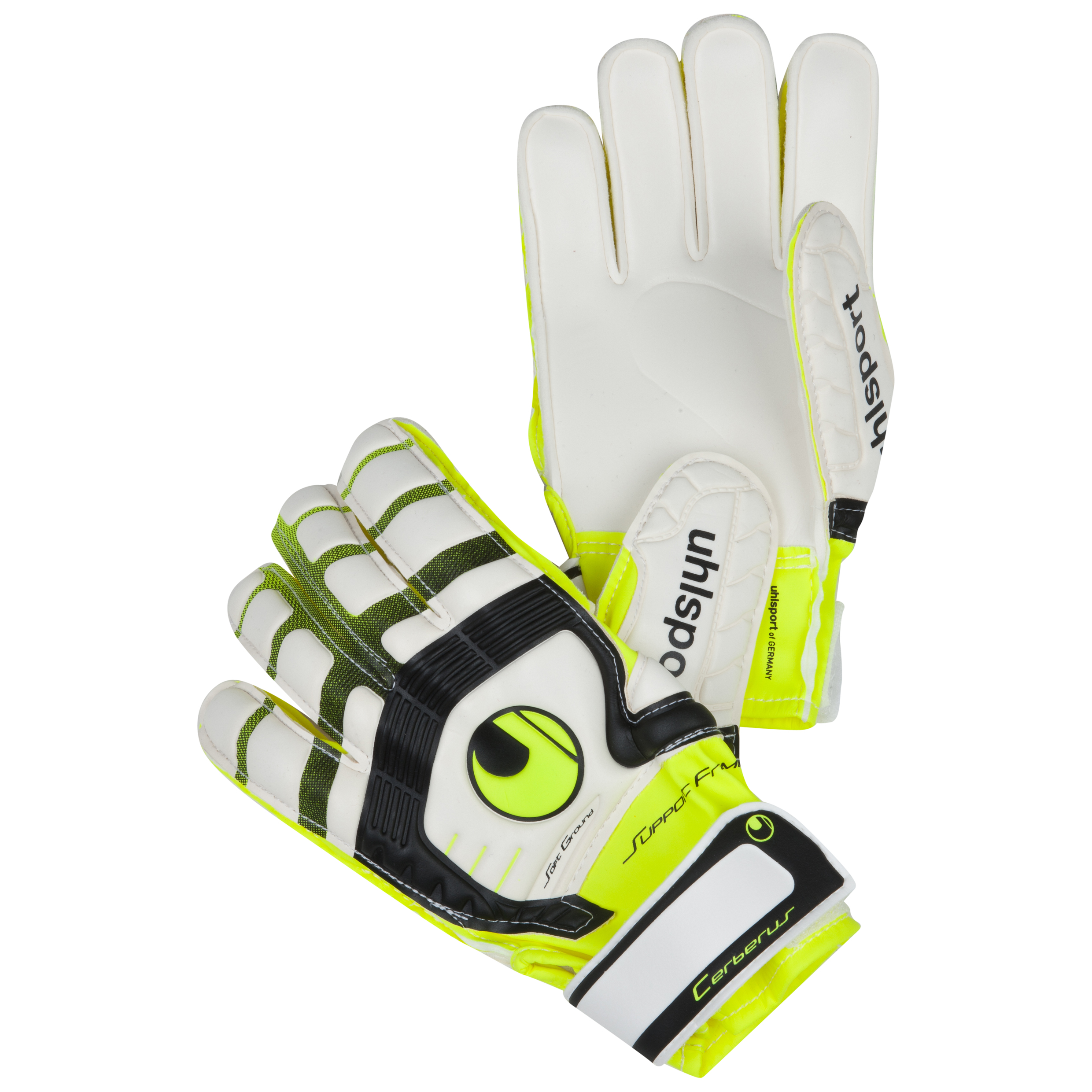 Uhlsport Cerberus Supportframe Goalkeeper Gloves Kids - White/Flou Yellow/Black