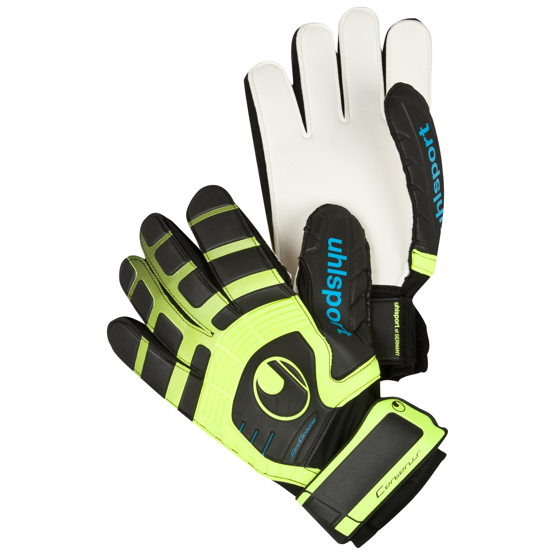 Uhlsport Cerberus Soft Goalkeeper Gloves - Black/Fluo Yellow/Cyan
