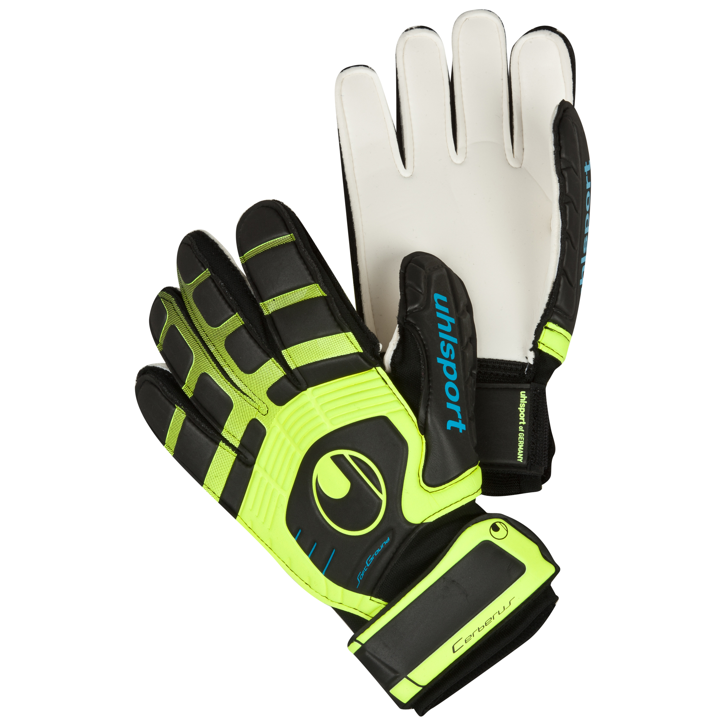 Uhlsport Cerberus Soft Goalkeeper Gloves - Black/Fluo Yellow/Cyan - Kids