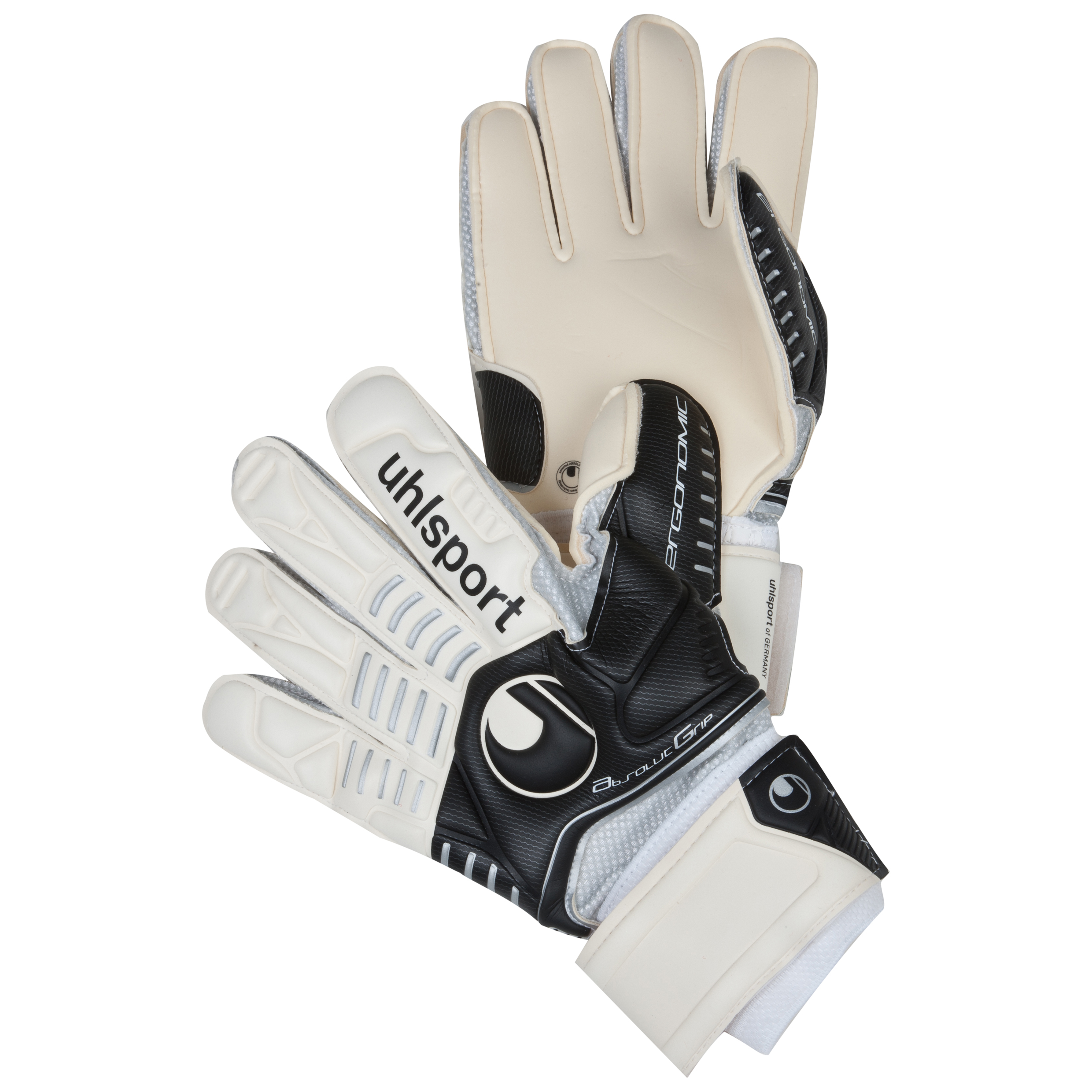 Uhlsport Ergonomic Absolutgrip Goalkeeper Gloves - White/Black/Silver
