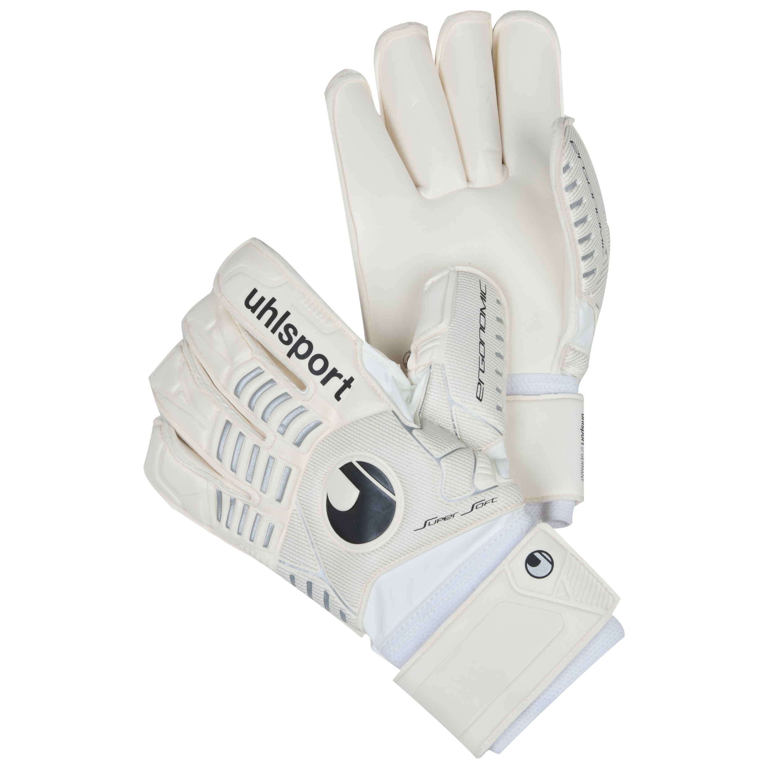 Uhlsport Ergonomic Supersoft Rollfinger Goalkeeper Gloves - White/Silver/Black