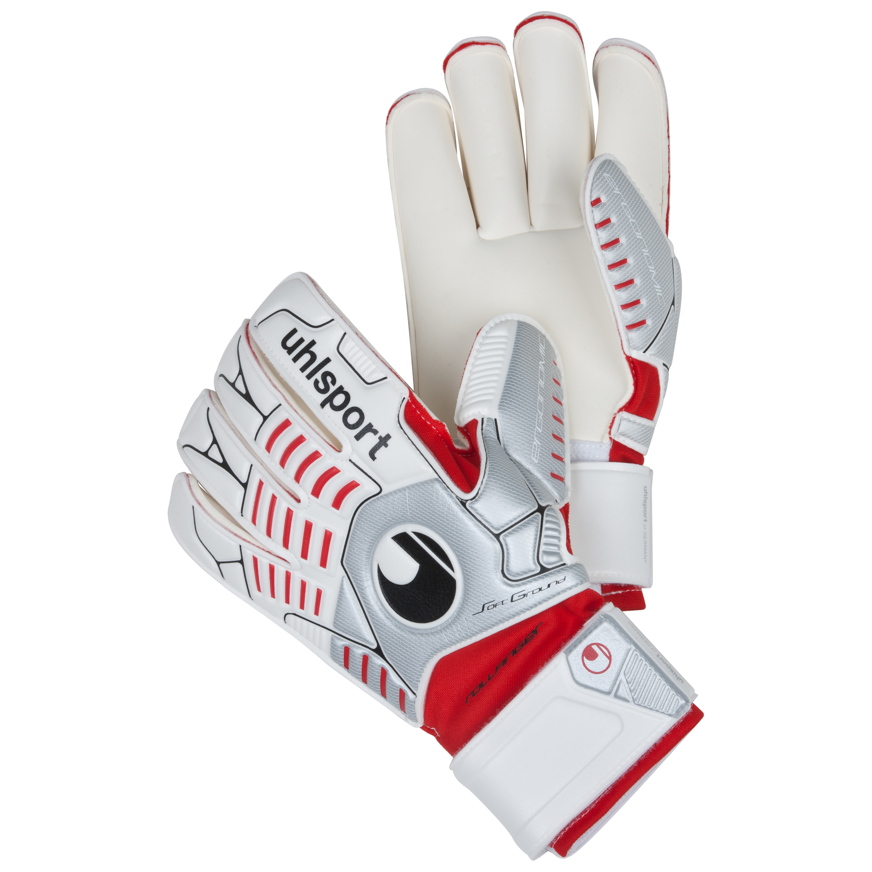 Uhlsport Ergonomic Soft Rollfinger Goalkeeper Gloves - White/Silver/Red