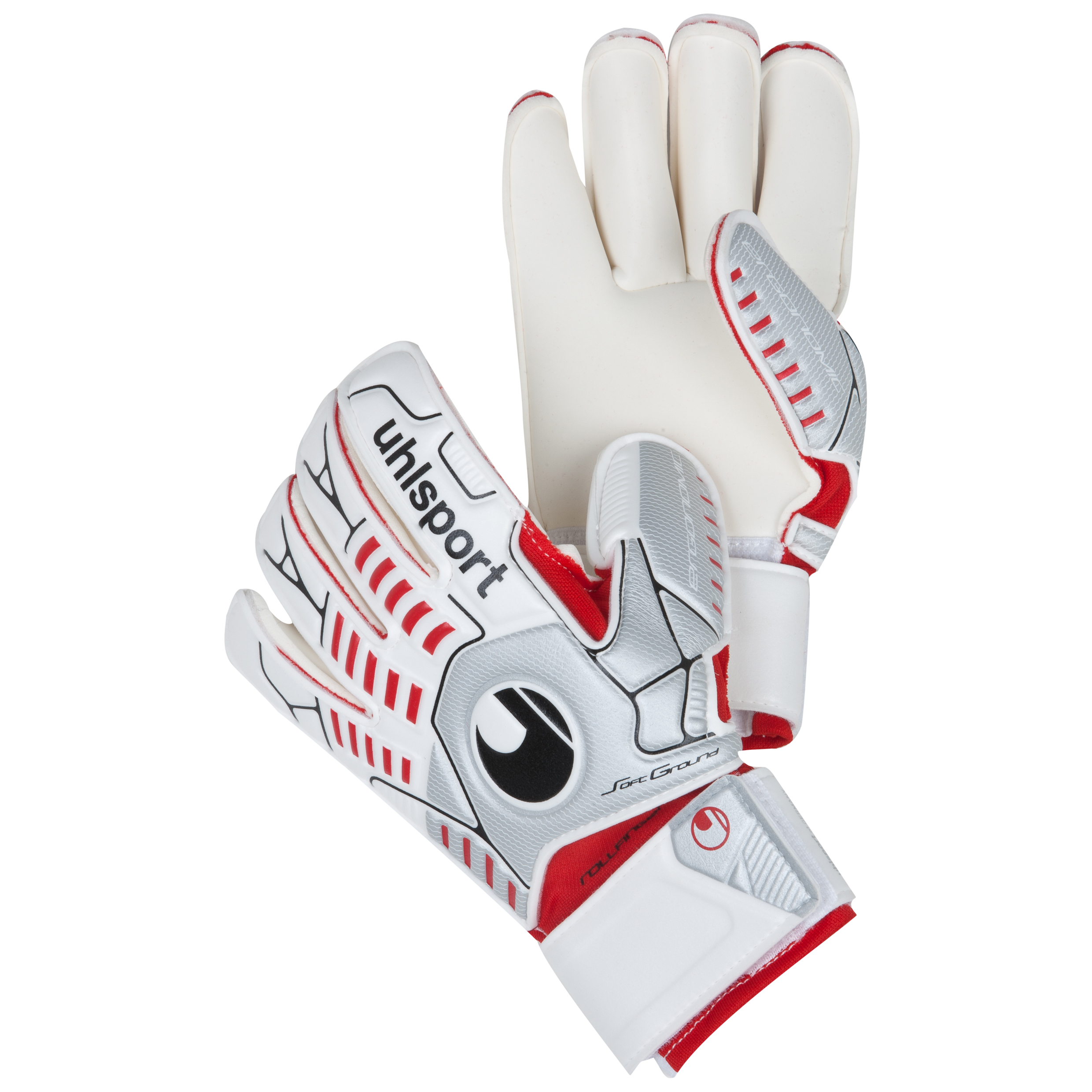 Uhlsport Ergonomic Soft Rollfinger Goalkeeper Gloves - White/Silver/Red - Kids
