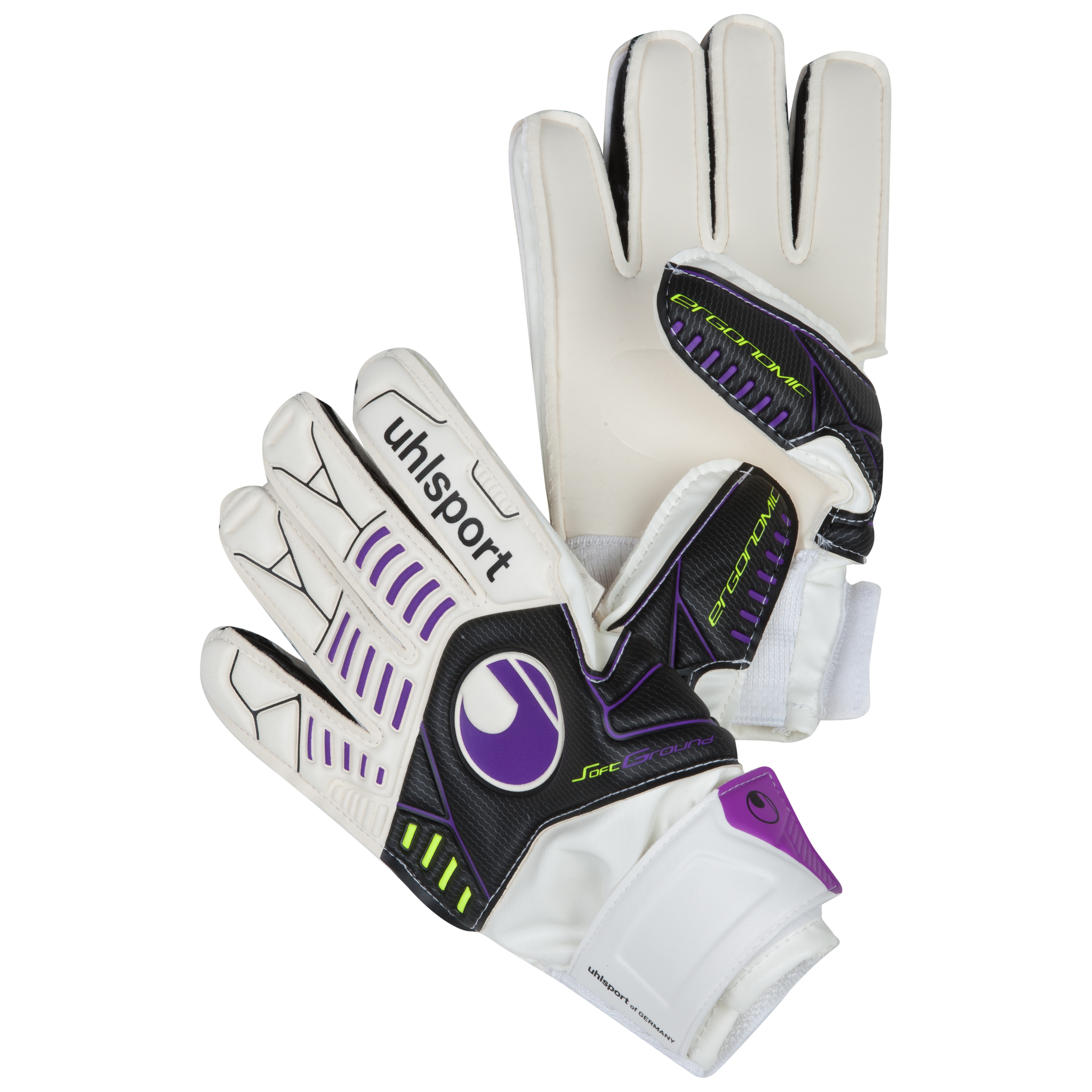 Uhlsport Ergonomic Soft Training Goalkeeper Gloves - White/Black/Purple - Kids