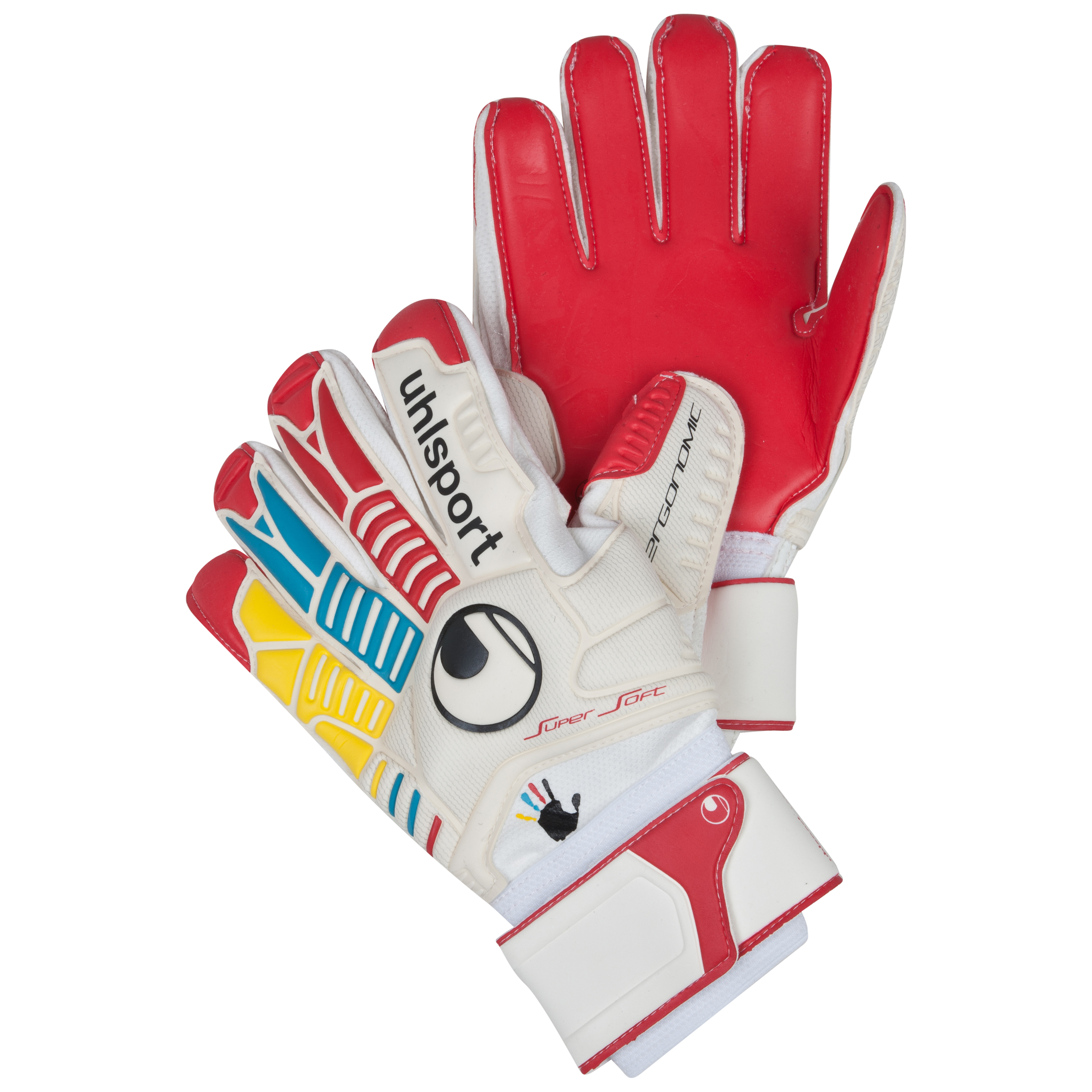 Uhlsport Ergonomic Supersoft 'Wir Tun Was' Goalkeeper Gloves - White/Red/Yellow/Cyan