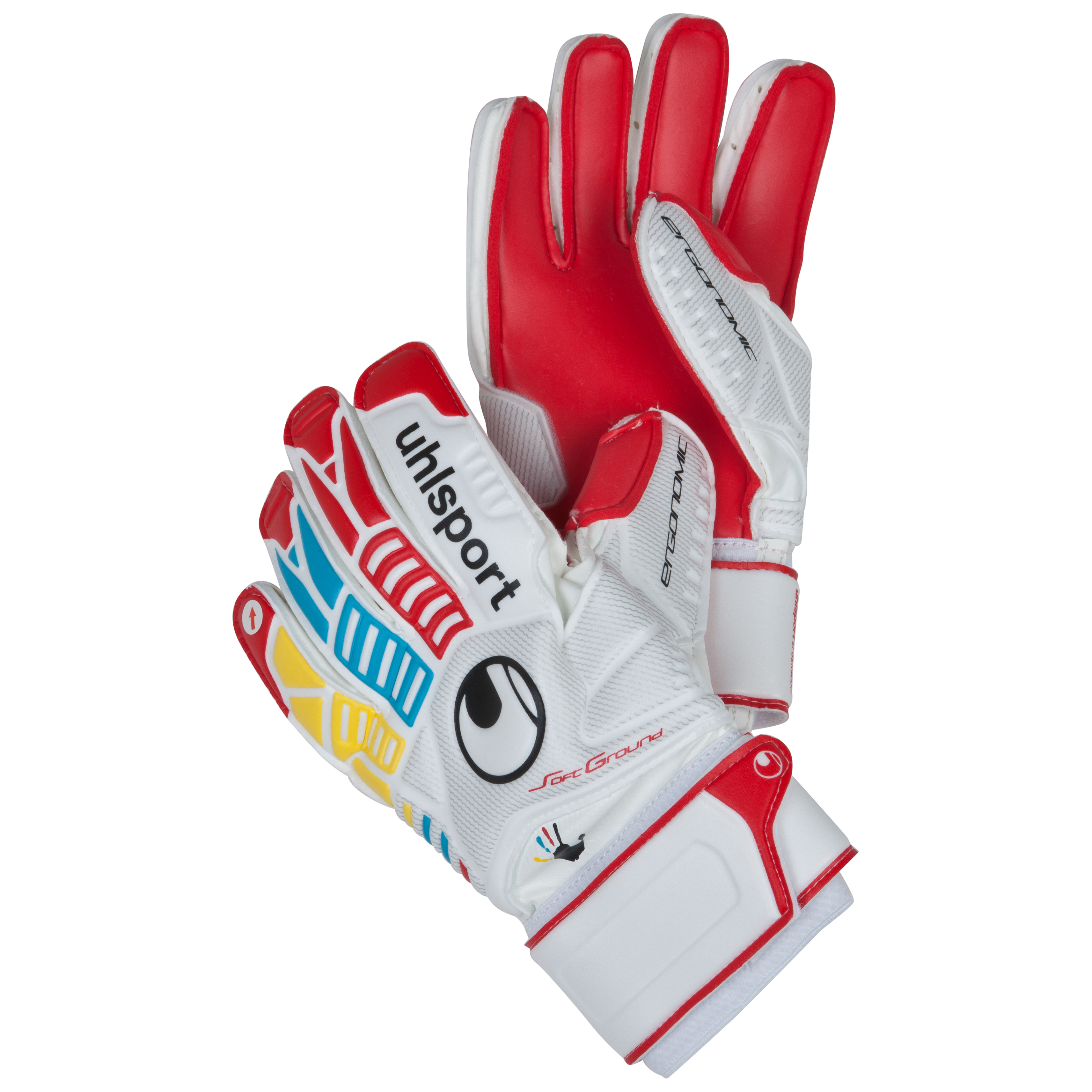 Uhlsport Ergonomic Soft 'Wir Tun Was' Goalkeeper Gloves - White/Red/Yellow/Cyan - Kids