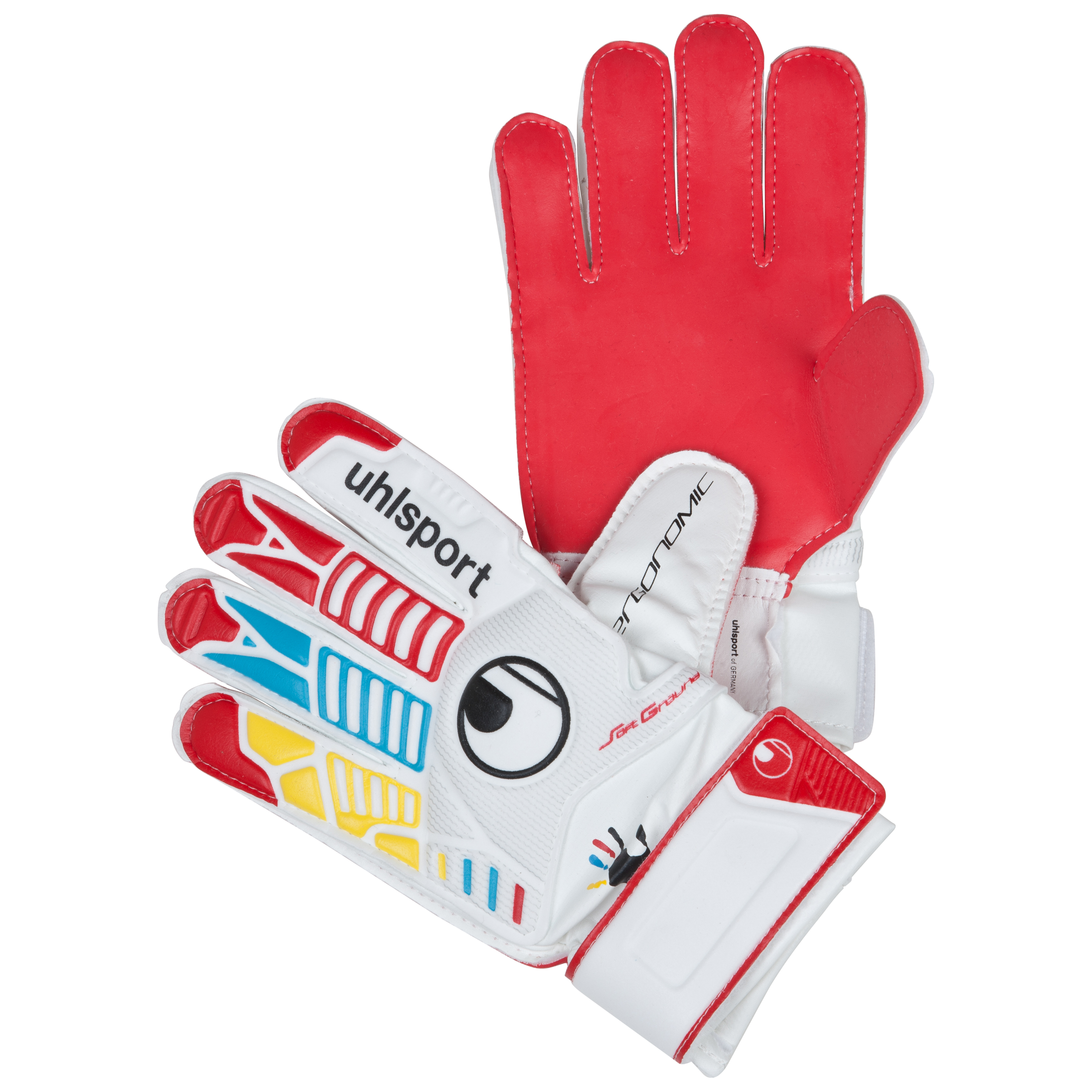 Uhlsport Ergonomic Starter Soft 'Wir Tun Was' Goalkeeper Gloves - White/Red/Yellow/Cyan - Kids