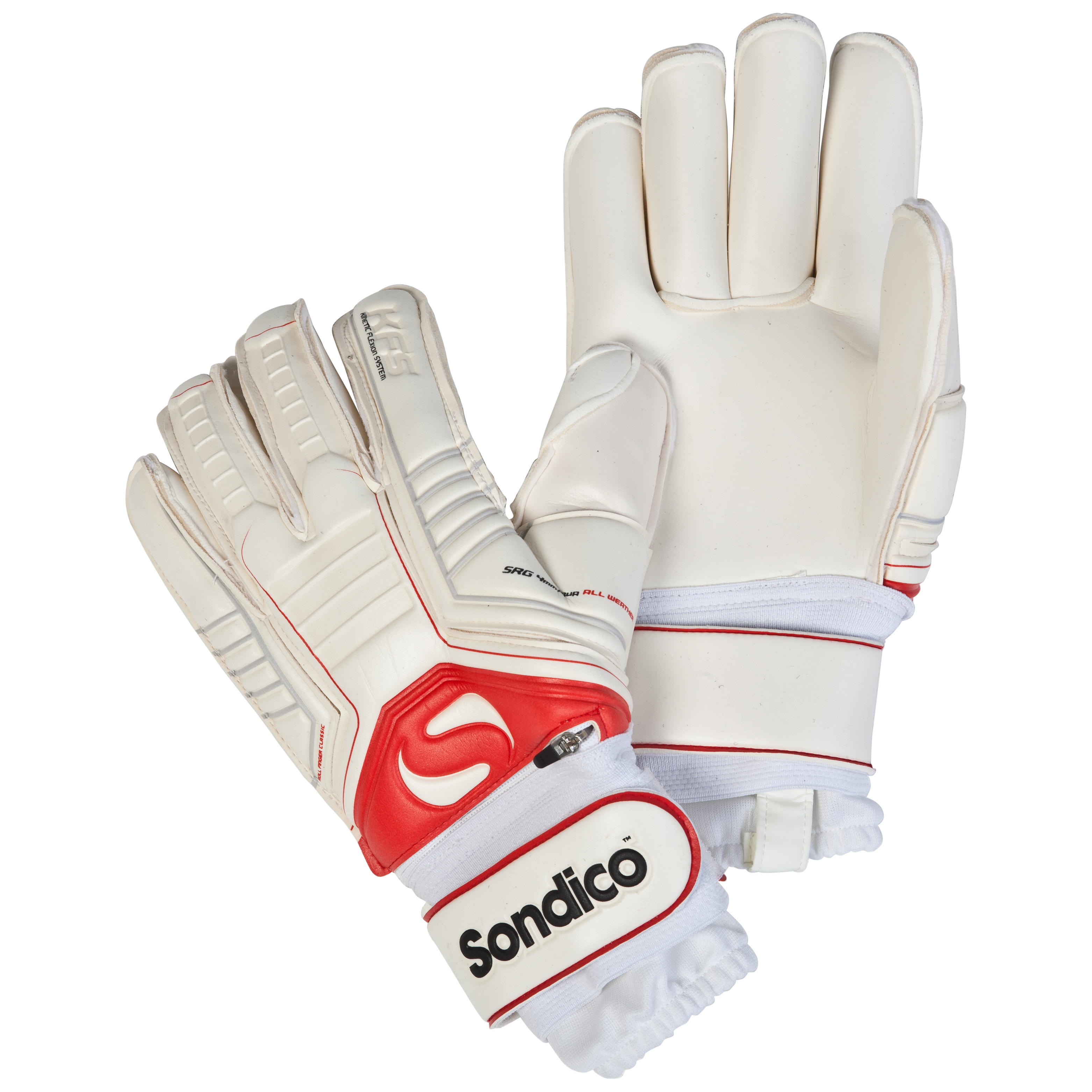 Sondico Sentinel Pro KFS Finger Protection Roll Finger Goalkeeper Gloves - White/Black/Cool Grey/Red