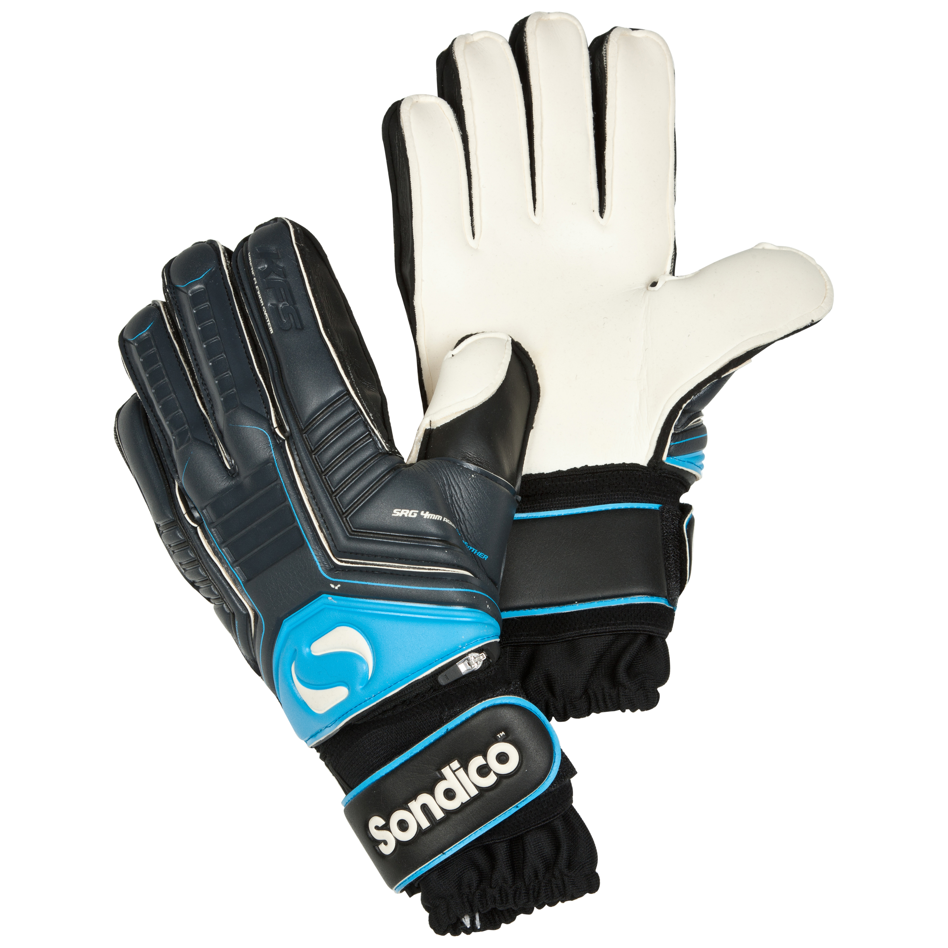 Sondico Sentinel Pro KFS Finger Protection Flat Palm Goalkeeper Gloves - Black/White/Cool Grey/Cyan