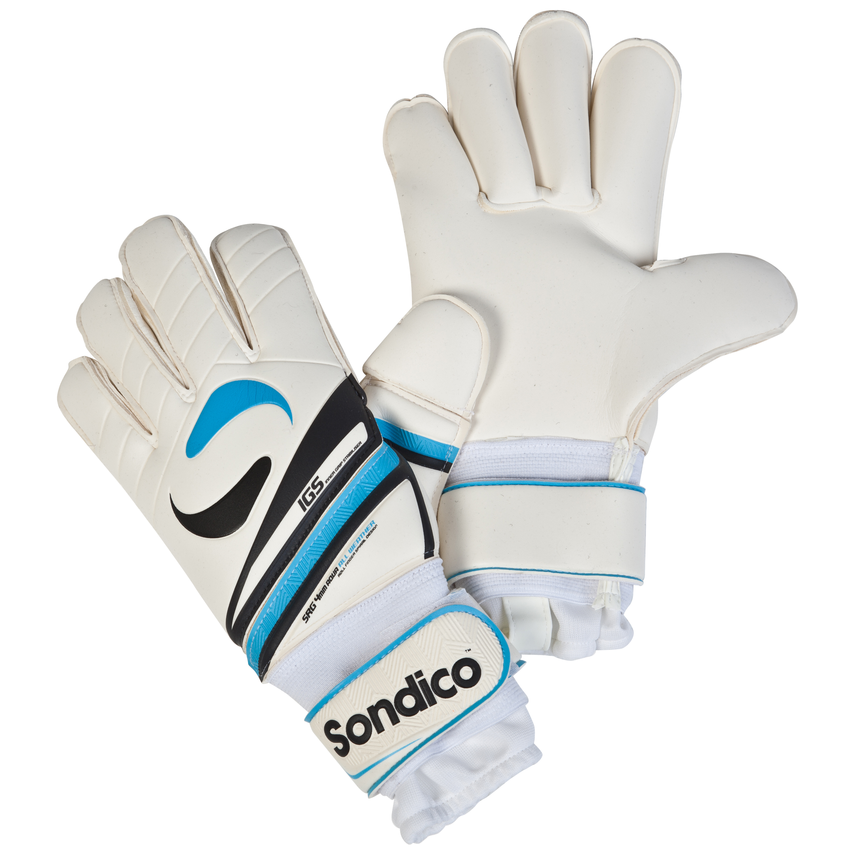 Sondico Legend Pro Roll Spiral 360 Goalkeeper Gloves - White/Black/Gun Metal/Cyan