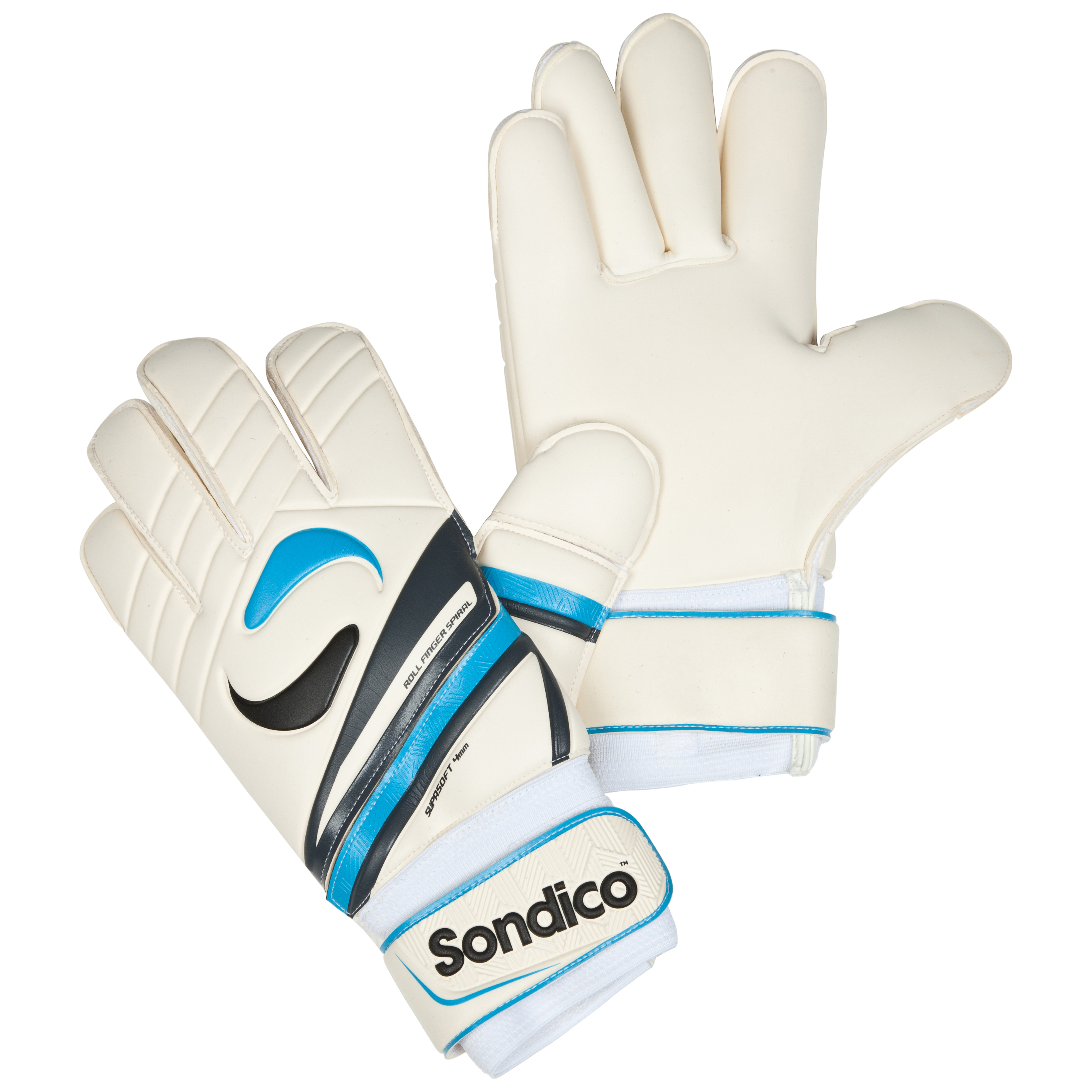Sondico Legend Academy Roll Spiral 360 Goalkeeper Gloves - White/Black/Gun Metal/Cyan