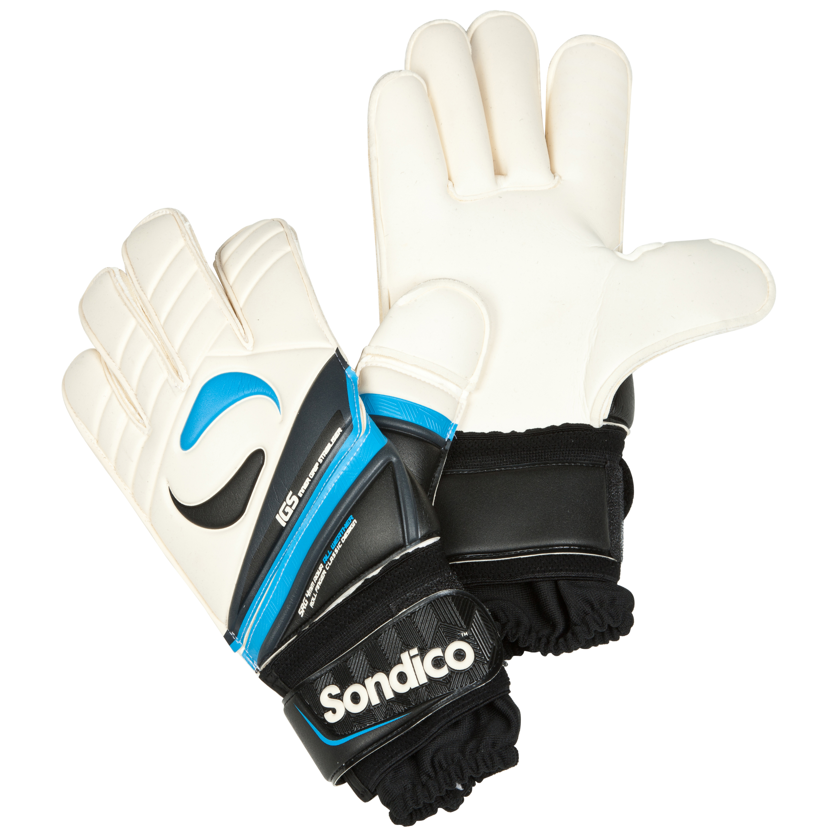 Sondico Midas Pro Classic Roll Finger Goalkeeper Gloves - Black/White/Gun Metal/Cyan