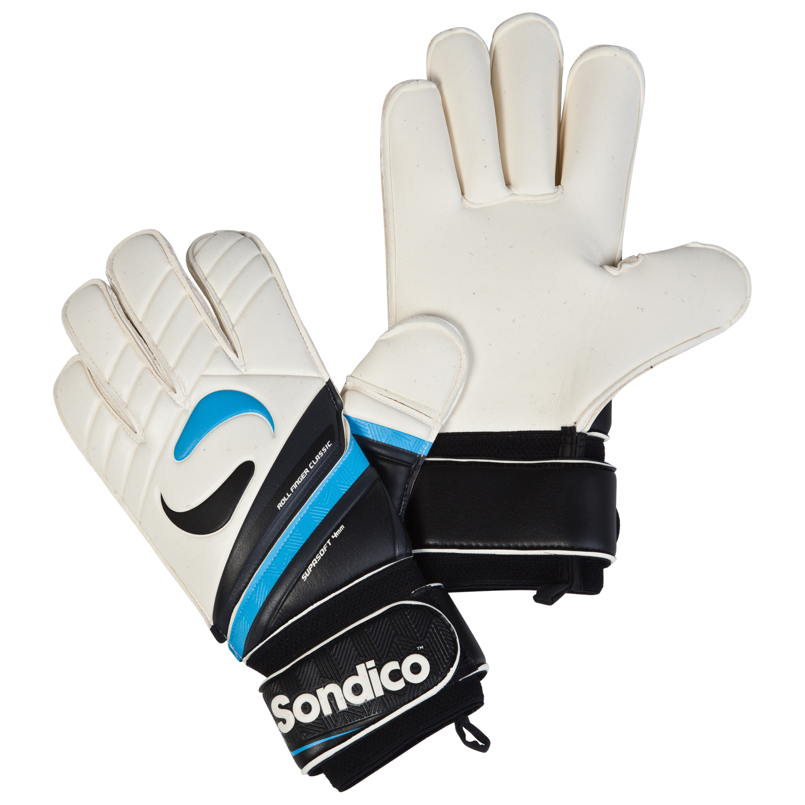 Sondico Midas Academy Classic Roll Finger Goalkeeper Gloves - Black/White/Gun Metal/Cyan