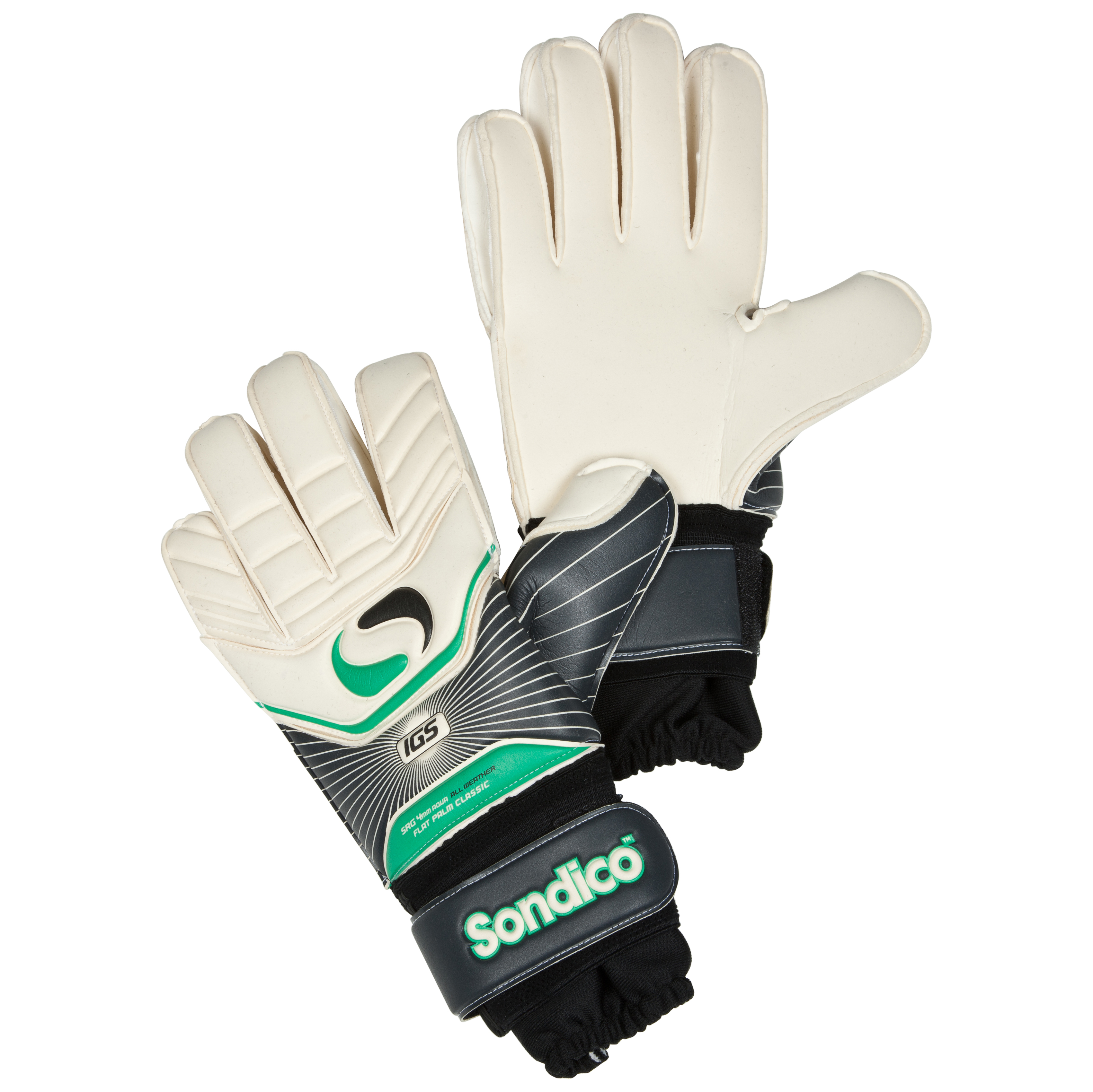 Sondico Icon Pro Classic Flat Palm Goalkeeper Gloves - Black/White/Gun Metal/Green