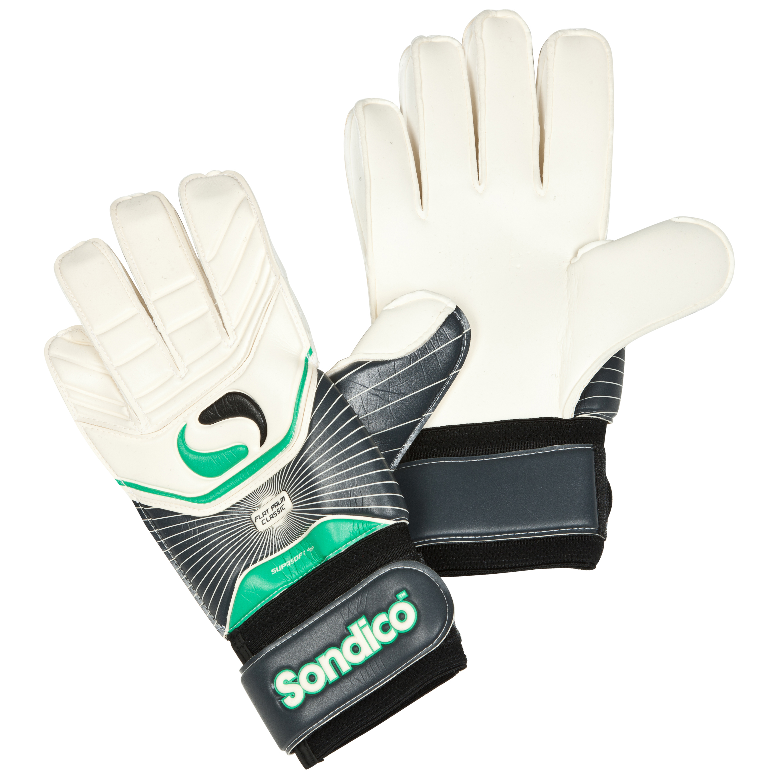 Sondico Icon Academy Classic Flat Palm Goalkeeper Gloves - Black/White/Gun Metal/Green