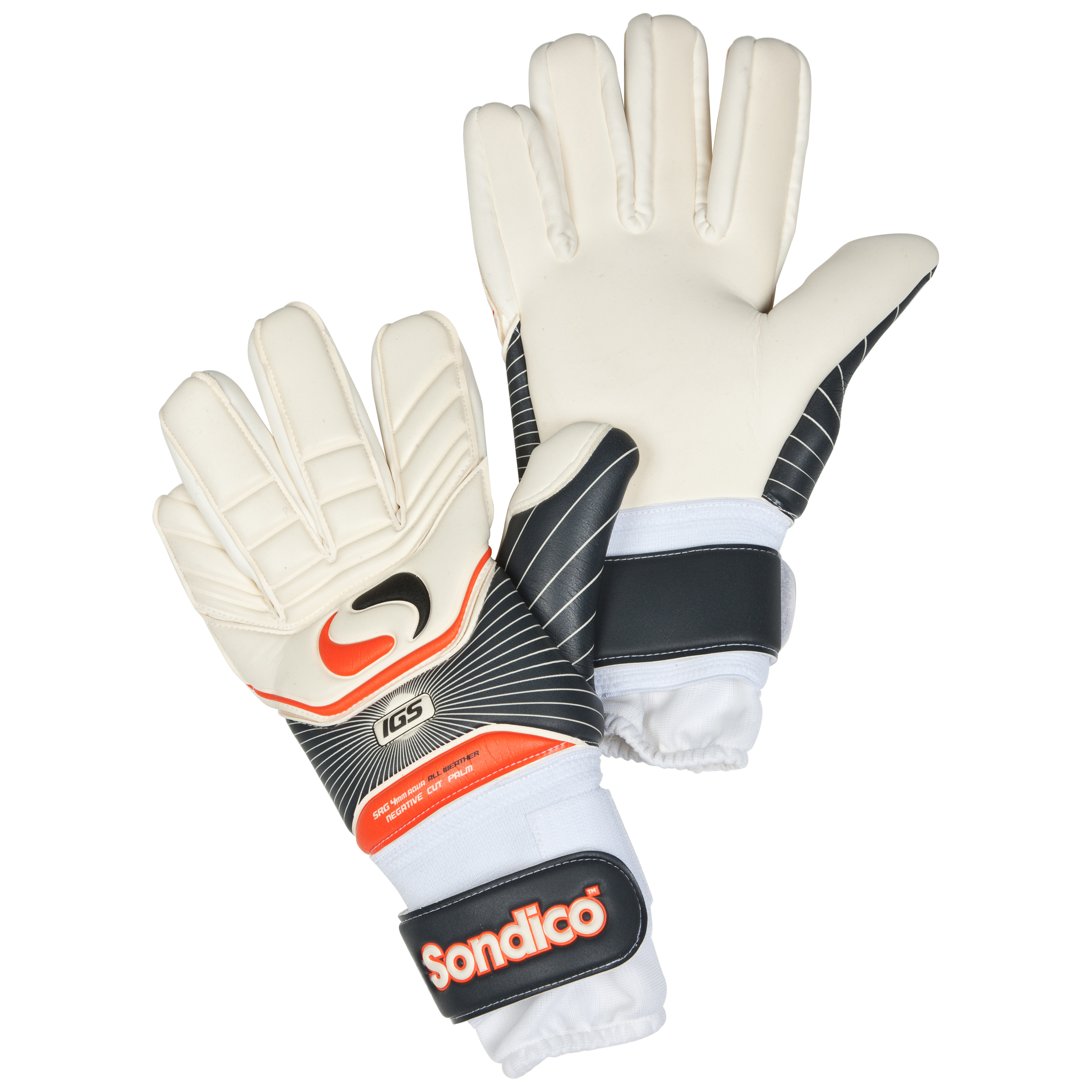 Sondico Ultima Pro Negative Cut Goalkeeper Gloves - Black/White/Gun Metal/Orange
