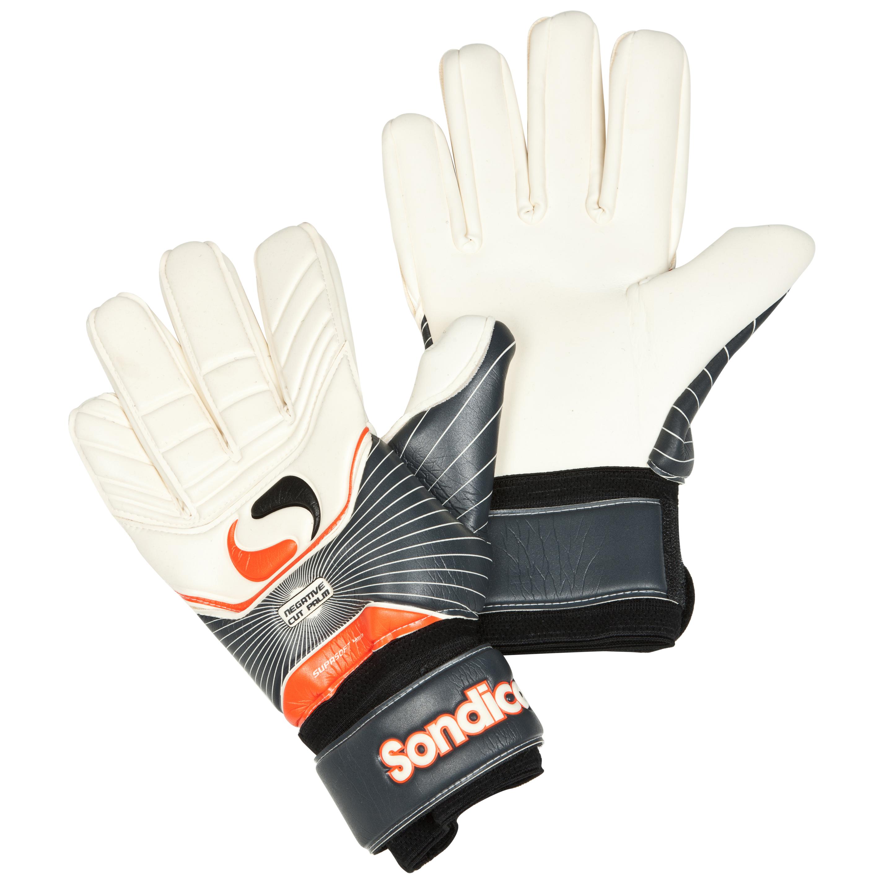 Sondico Ultima Academy Negative Cut Goalkeeper Gloves - Black/White/Gun Metal/Orange