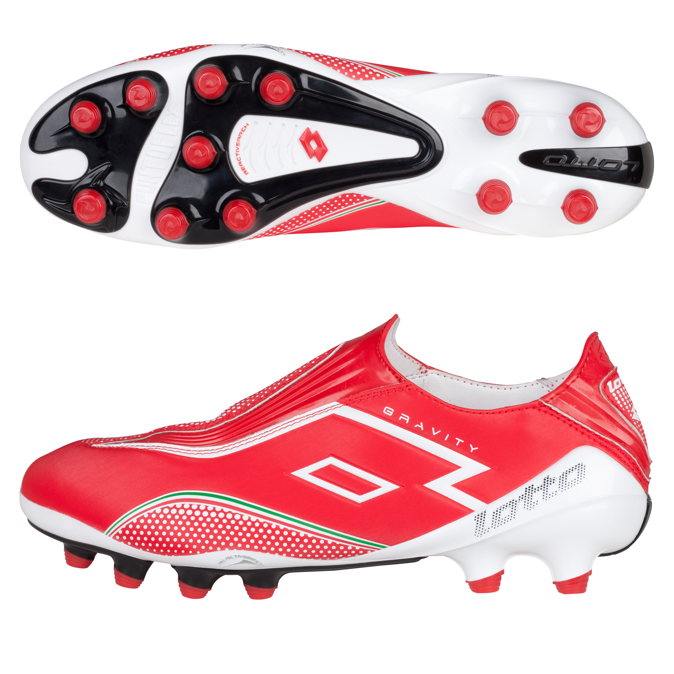 Lotto Zhero Gravity.II 100 Firm Ground Football Boots - Risk Red/White