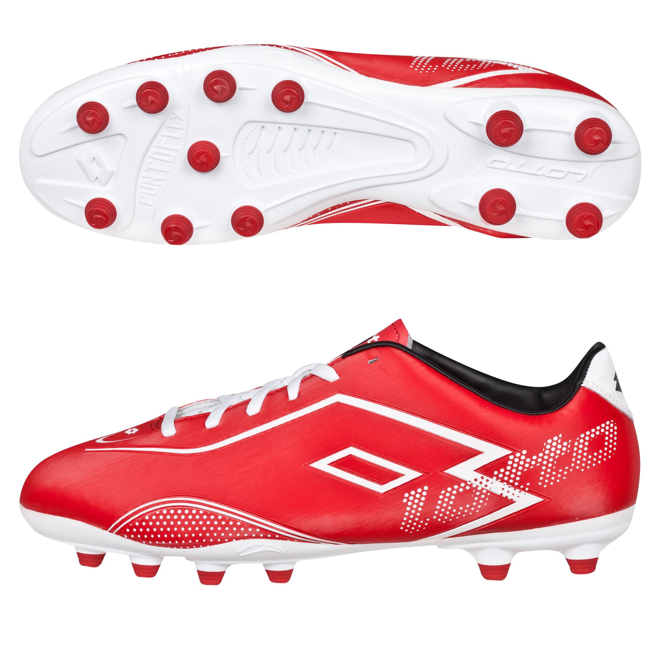 Lotto Zhero Gravity.II 700 Firm Ground Football Boots - Risk Red/White