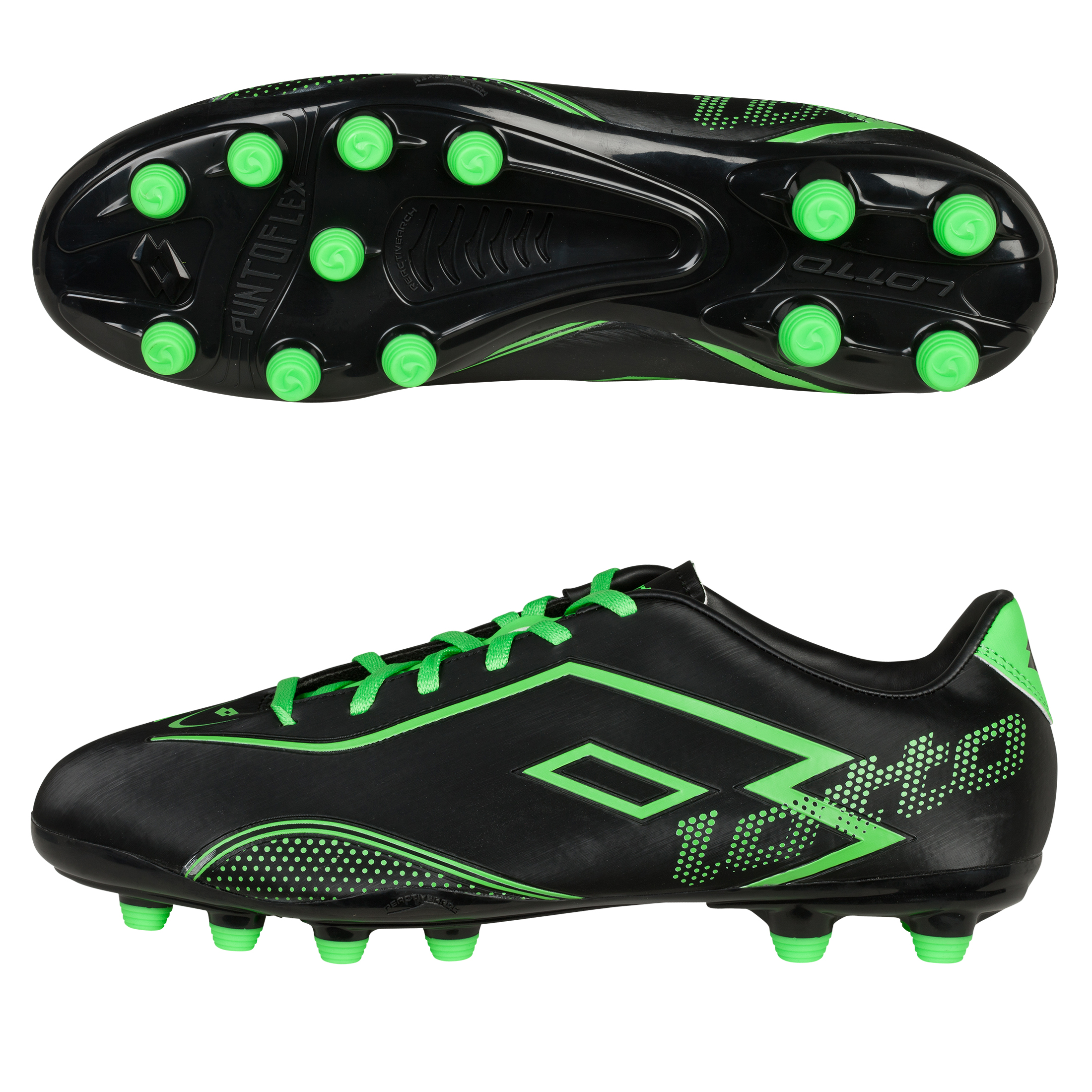 Lotto Zhero Gravity.II 700 Firm Ground Football Boots - Black/MN Green