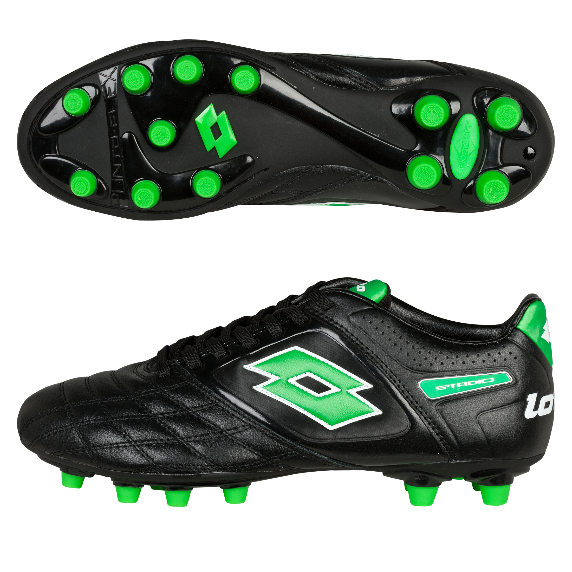 Lotto Stadio Potenza II 300 Firm Ground Football Boots - Black/MN Green