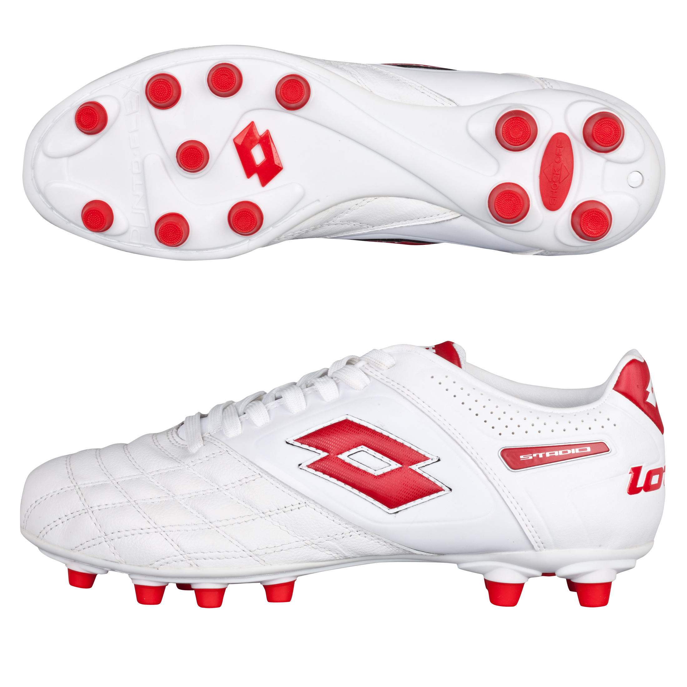 Lotto Stadio Potenza II 300 Firm Ground Football Boots - White/Risk Red