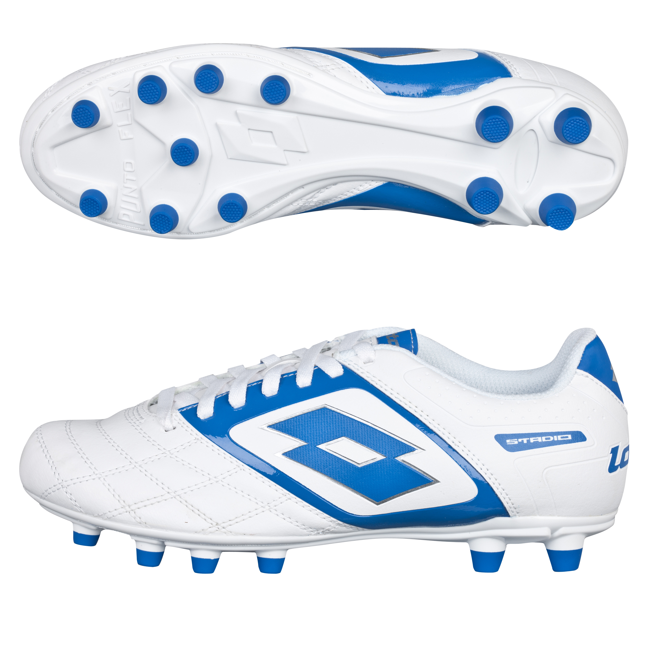 Lotto Stadio Potenza II 700 Firm Ground Football Boots - White/Blue