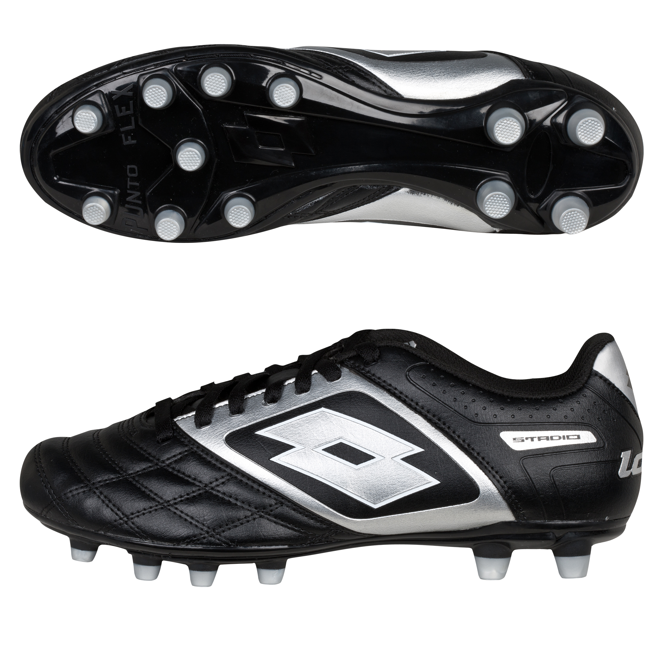 Lotto Stadio Potenza II 700 Firm Ground Football Boots - Black/Silver