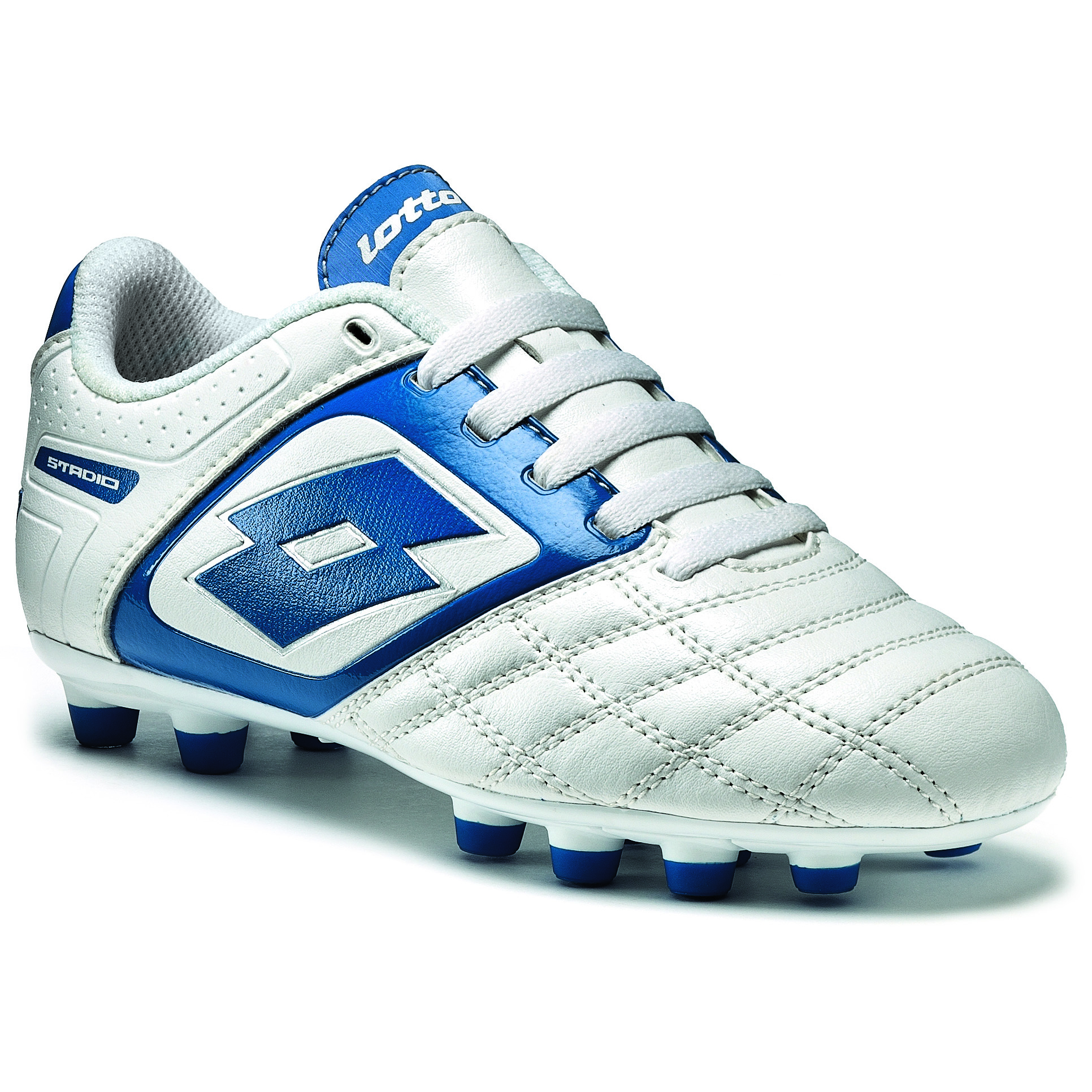 Lotto Stadio Potenza II 700 Firm Ground Football Boots - White/Blue - Kids