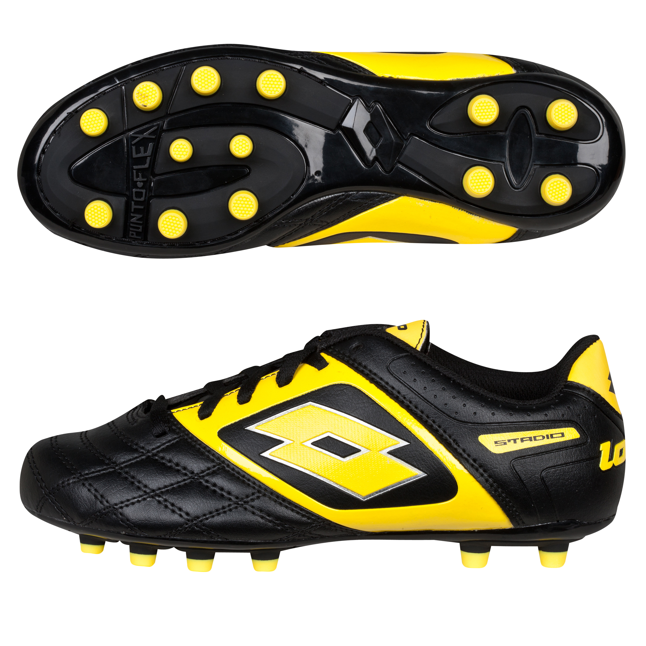 Lotto Stadio Potenza II 700 Firm Ground Football Boots - Black/Super Ylw - Kids