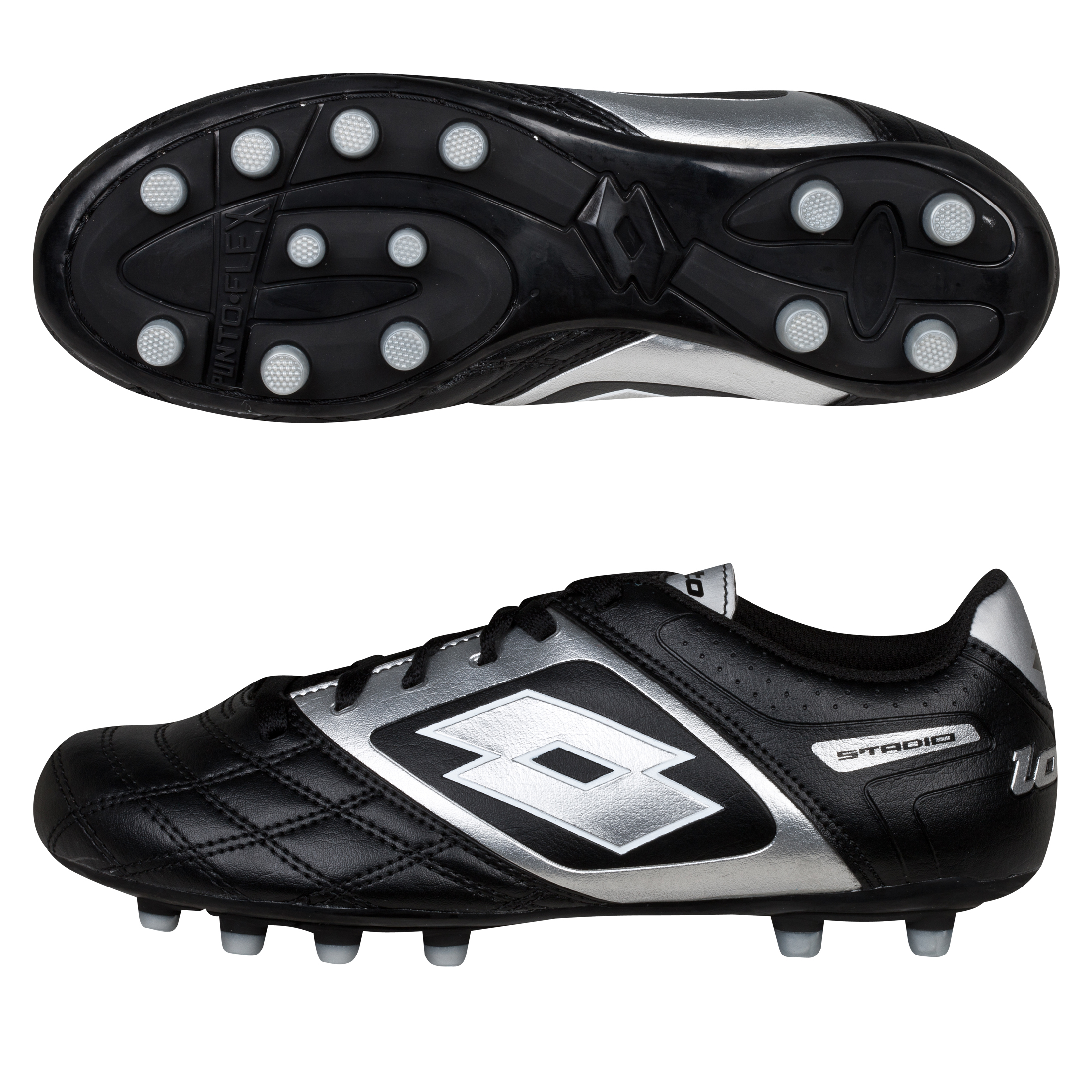 Lotto Stadio Potenza II 700 Firm Ground Football Boots - Black/Silver - Kids
