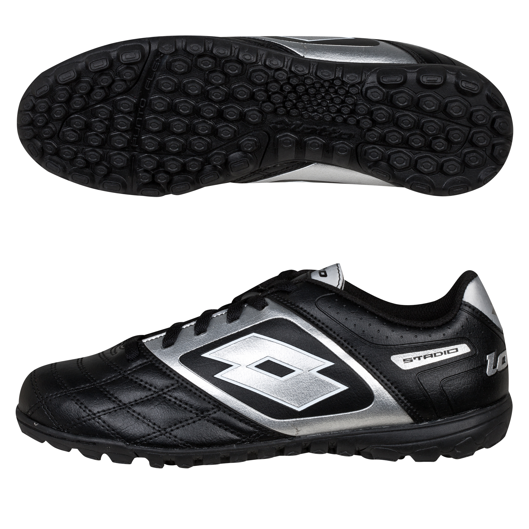 Lotto Stadio Potenza.II 700 Astro Turf Trainers - Black/Silver - Kids