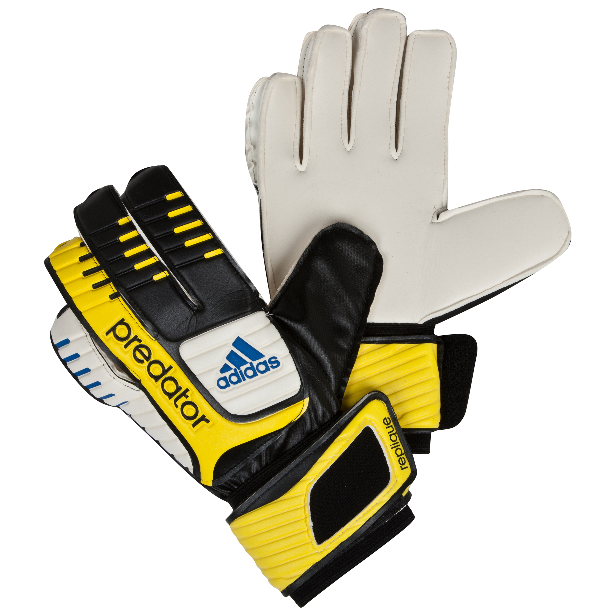 adidas Predator Replique Goalkeeper Gloves - Black/White/Vivid Yellow /Prime Blue