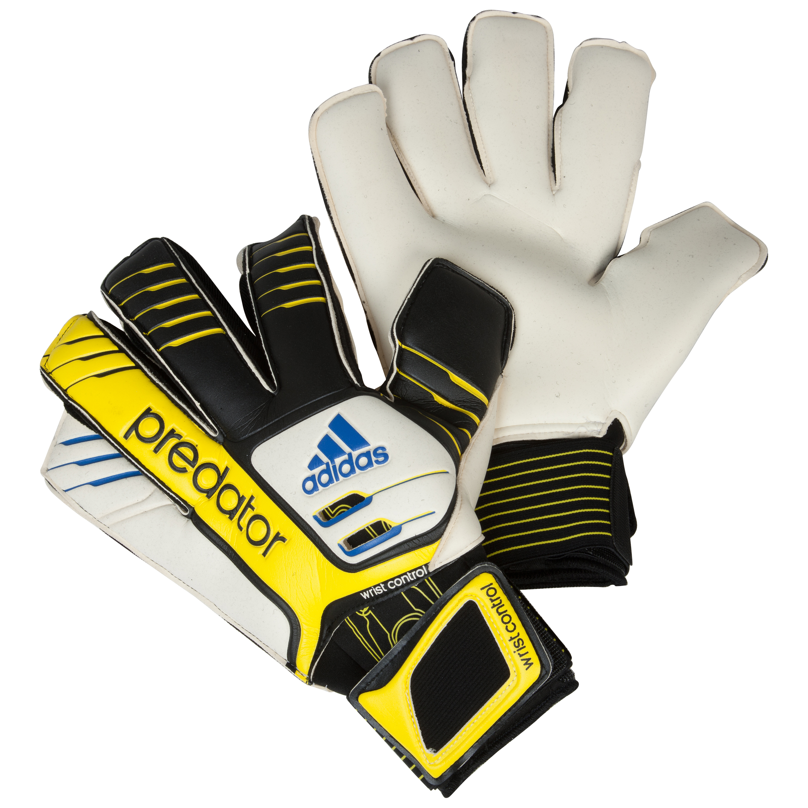 Adidas Predator Wrist Control Goalkeeper Gloves - Black/White/Vivid Yellow /Prime Blue