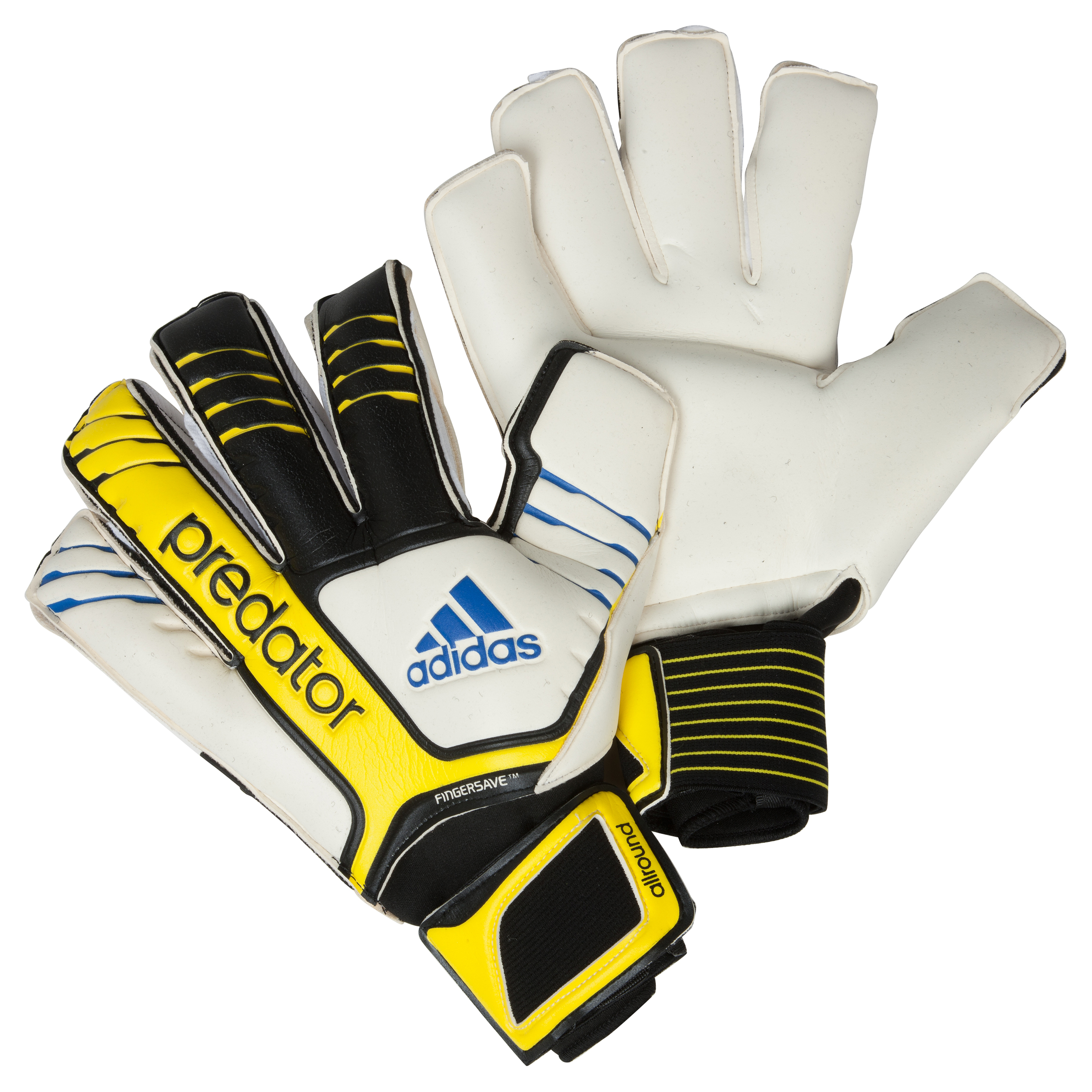 adidas Predator FS All Goalkeeper Gloves - Black/White/Vivid Yellow /Prime Blue
