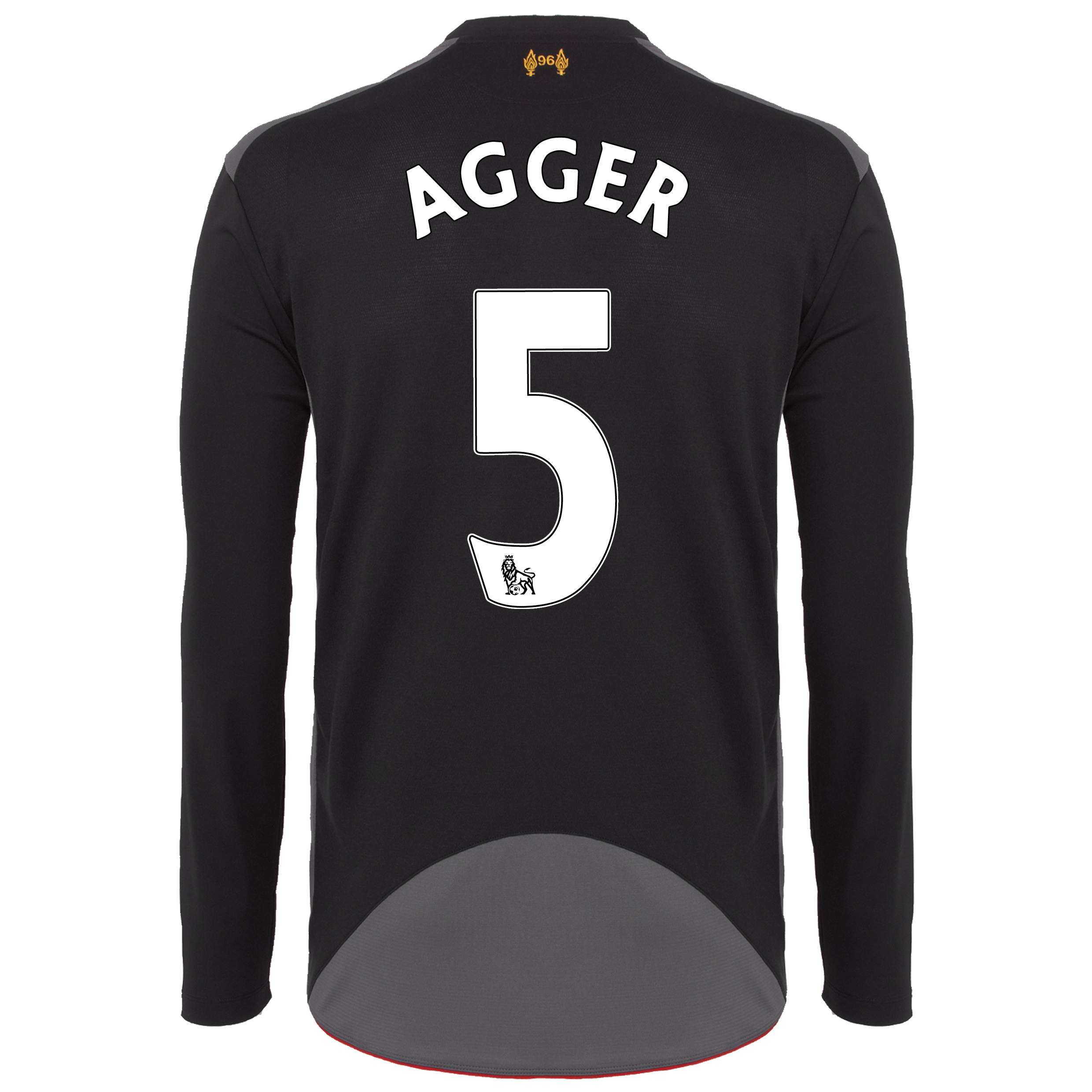Liverpool Away Shirt 2012/13 - Long Sleeve - Kids with Agger 5 printing