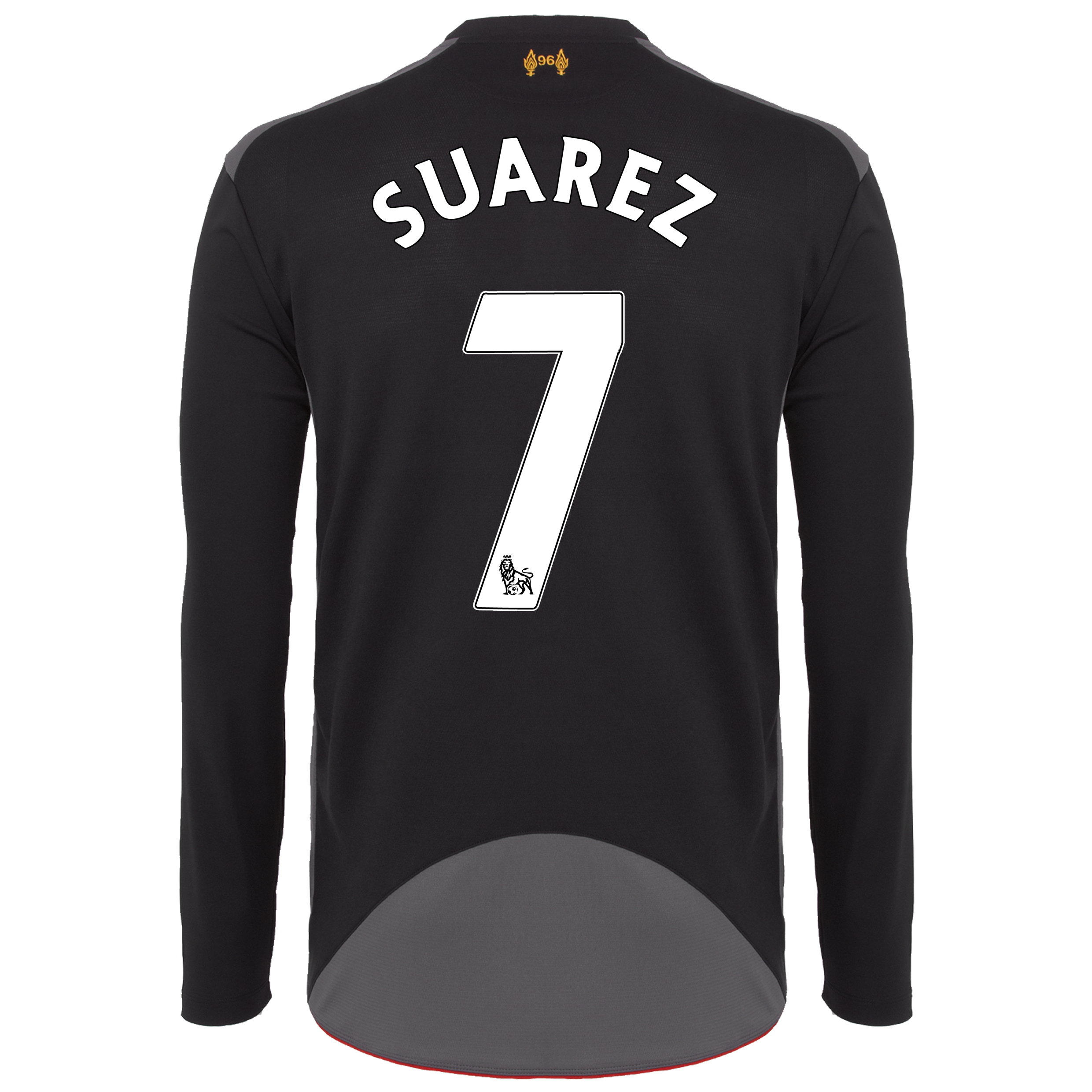 Liverpool Away Shirt 2012/13 - Long Sleeve - Kids with Suarez 7 printing