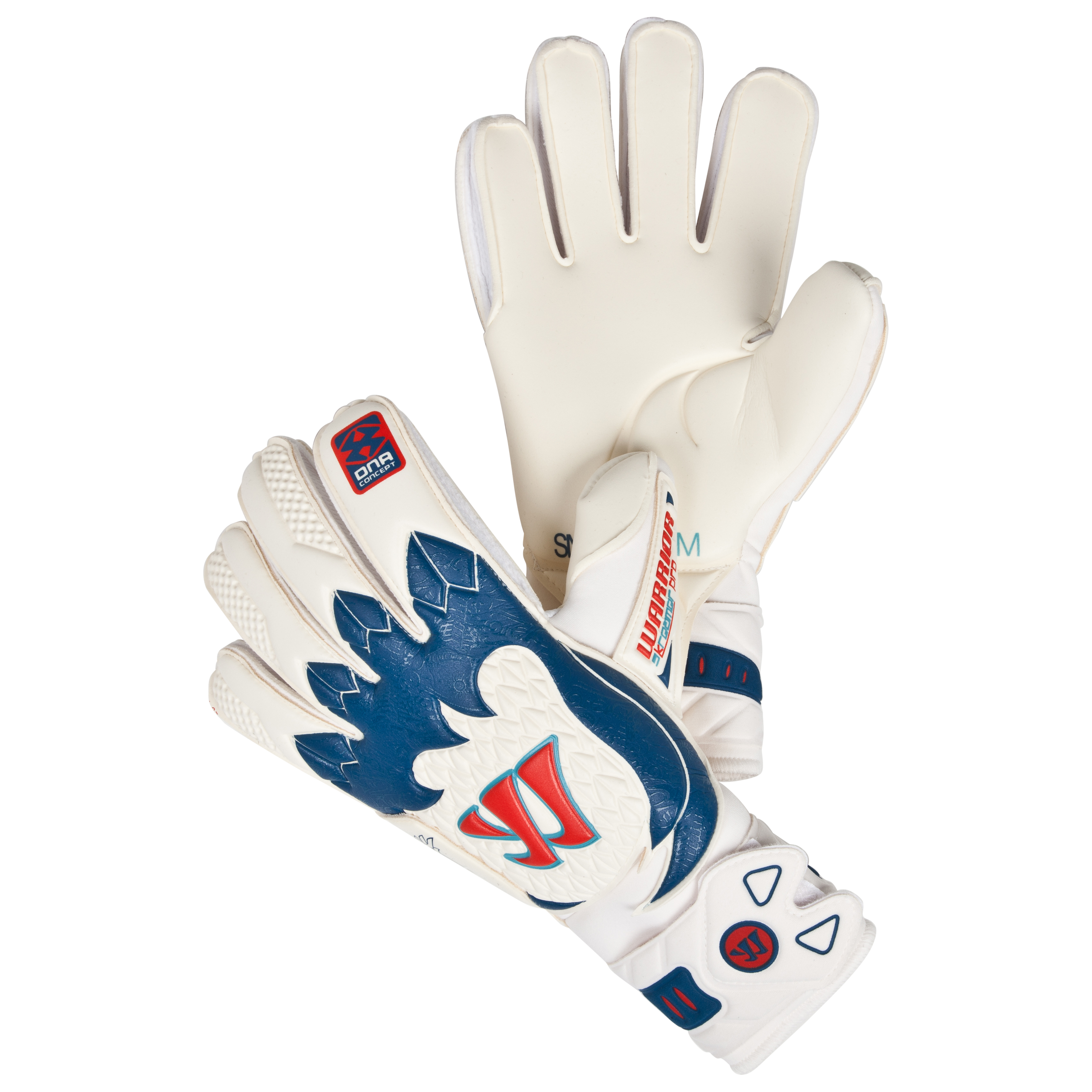 Warrior Sports Skreamer Pro - Flat Goalkeeper Gloves - White/Blue Radiance/Insignia Blue