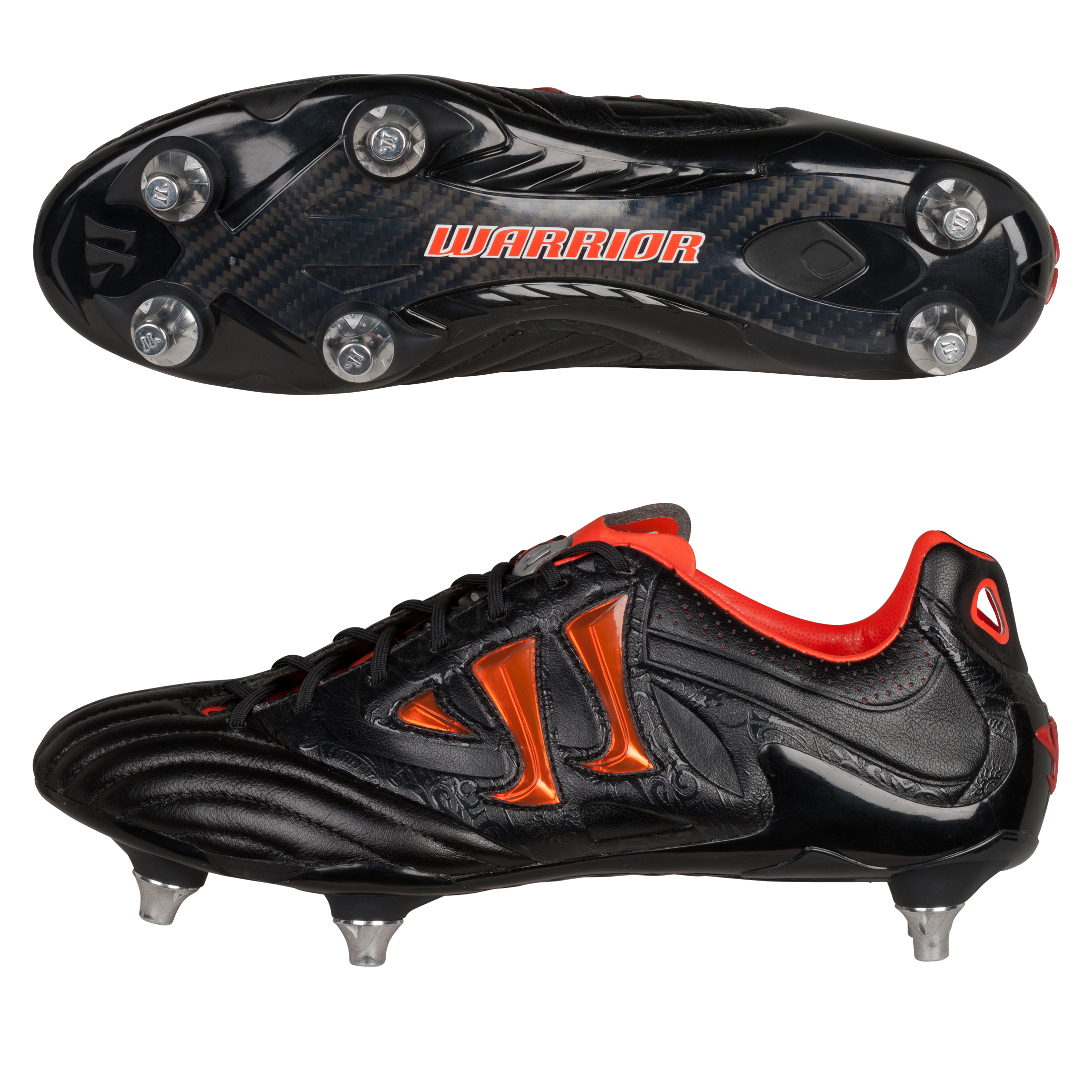 Warrior Sports Skreamer K-Lite Soft Ground Football Boots - Black/Spicy Orange